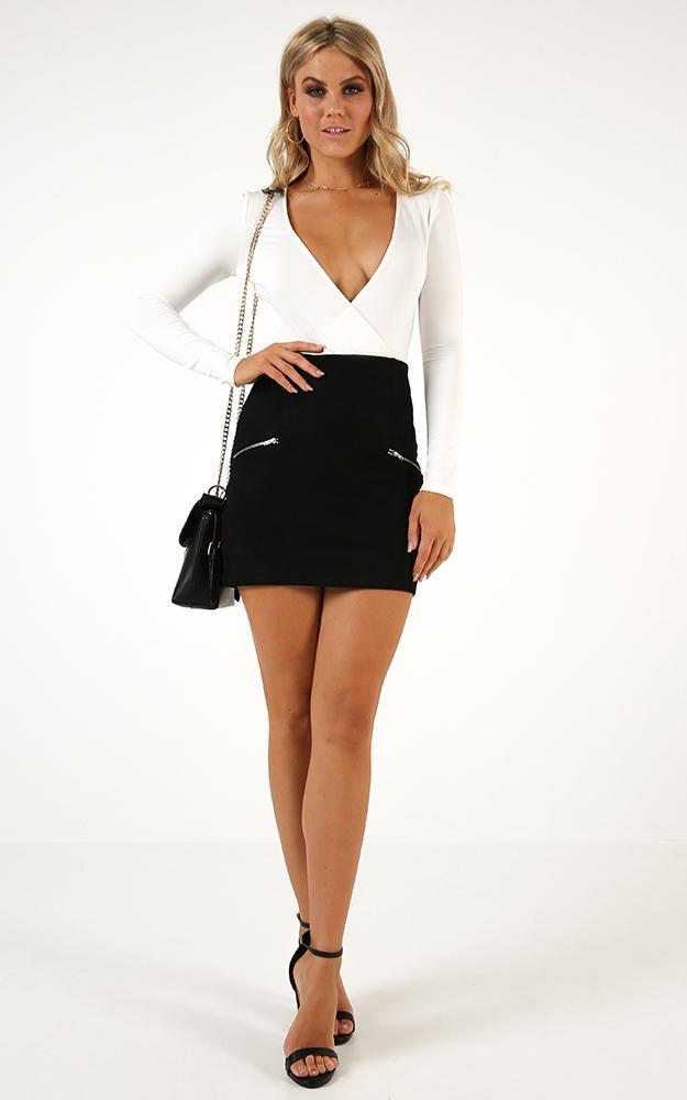Way Ahead skirt in black suedette - 12 (L), Black, hi-res image number null