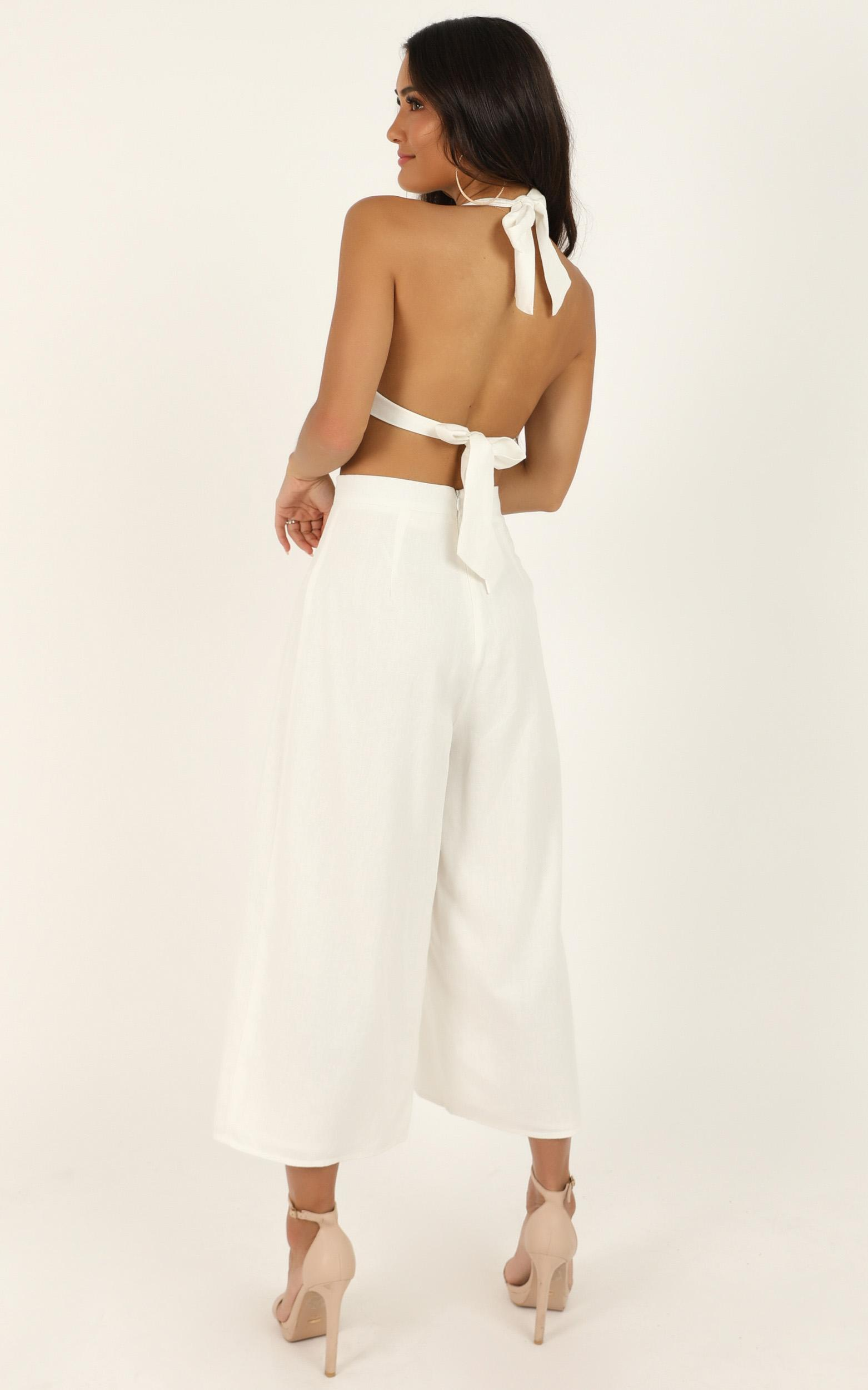 Wont Change Two Piece Set in white linen look - 20 (XXXXL), White, hi-res image number null