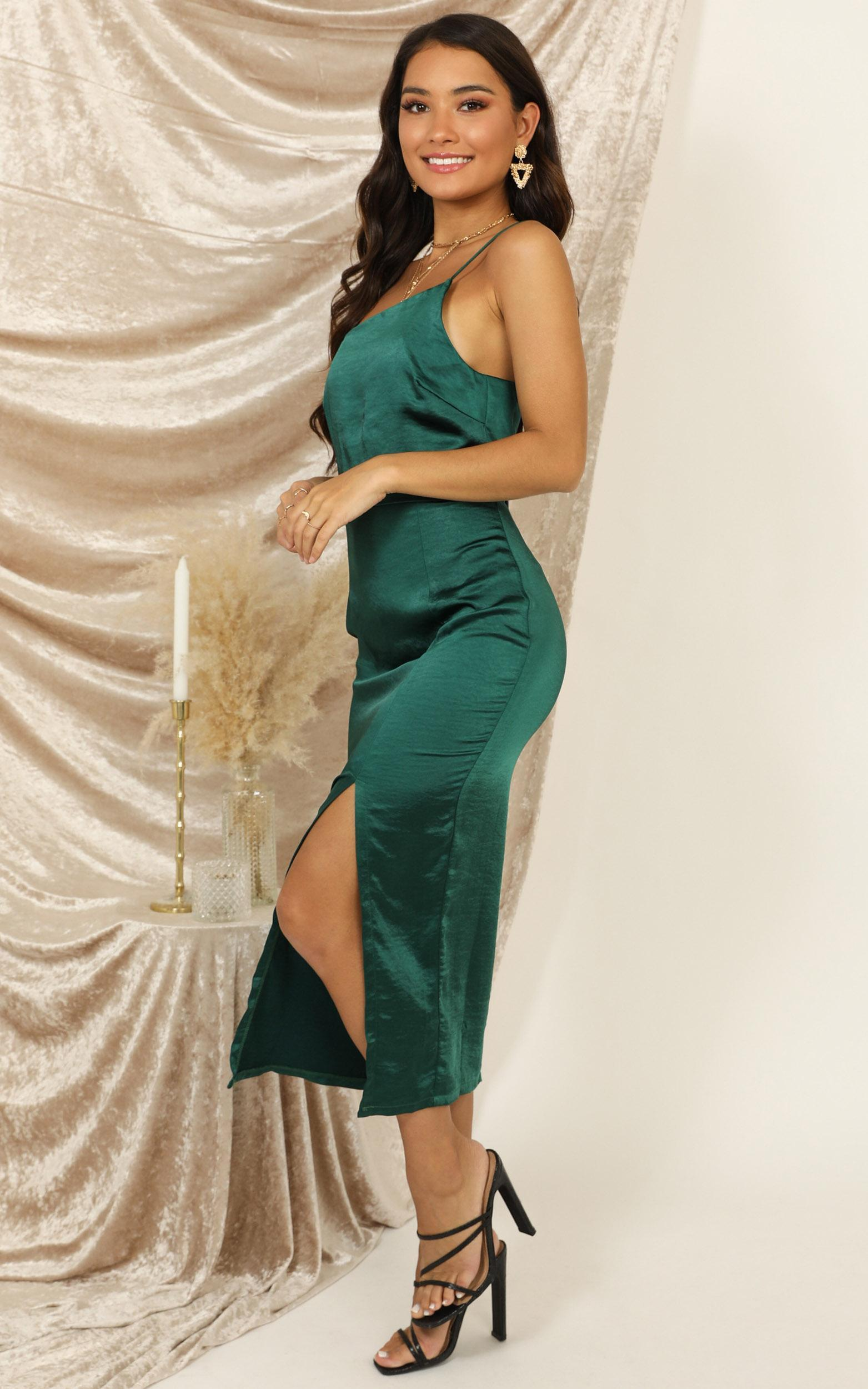Shake The World dress in emerald green satin - 14 (XL), Green, hi-res image number null