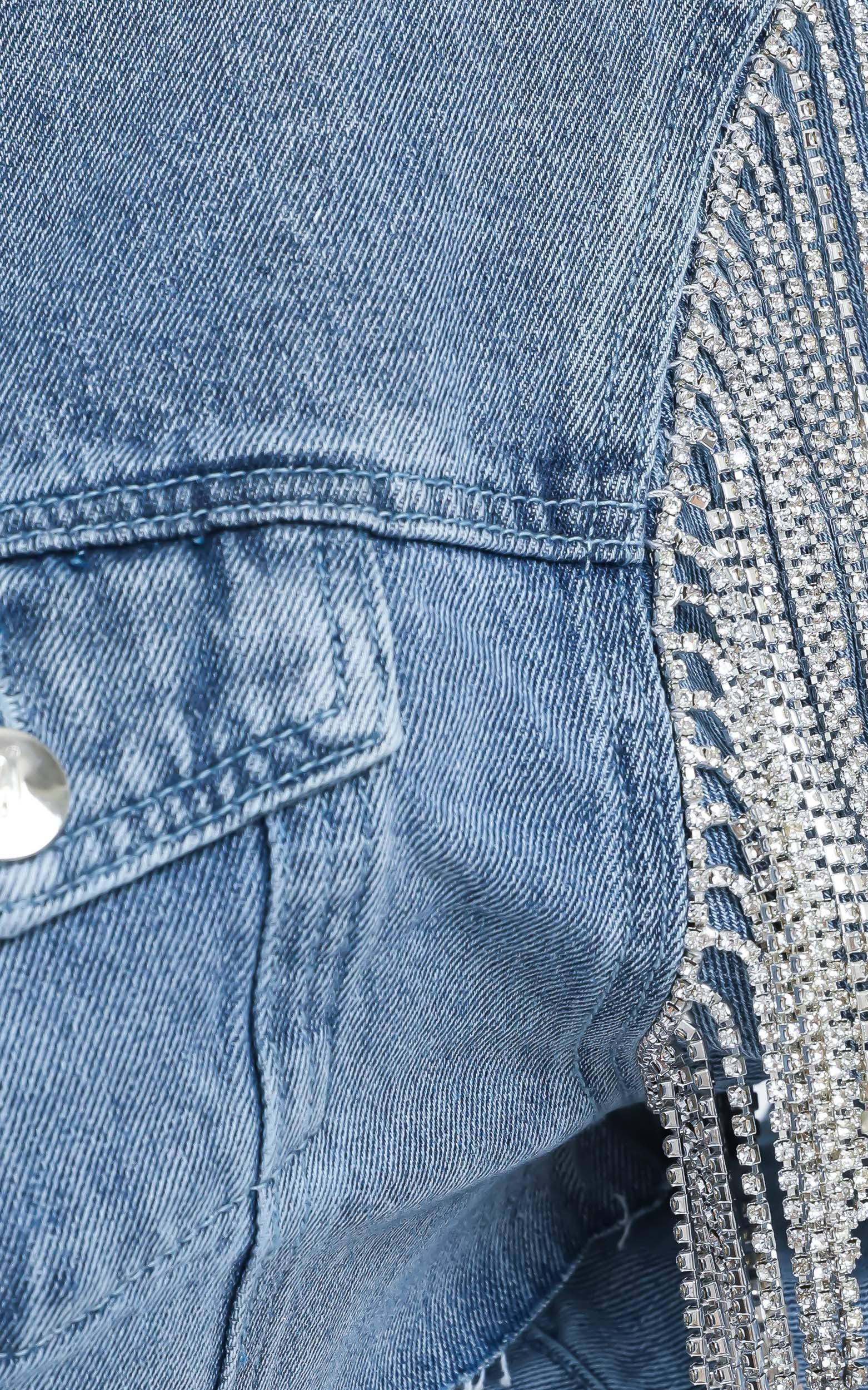 Abrielle Denim Jacket with Diamante in Blue - 14 (XL), Blue, hi-res image number null