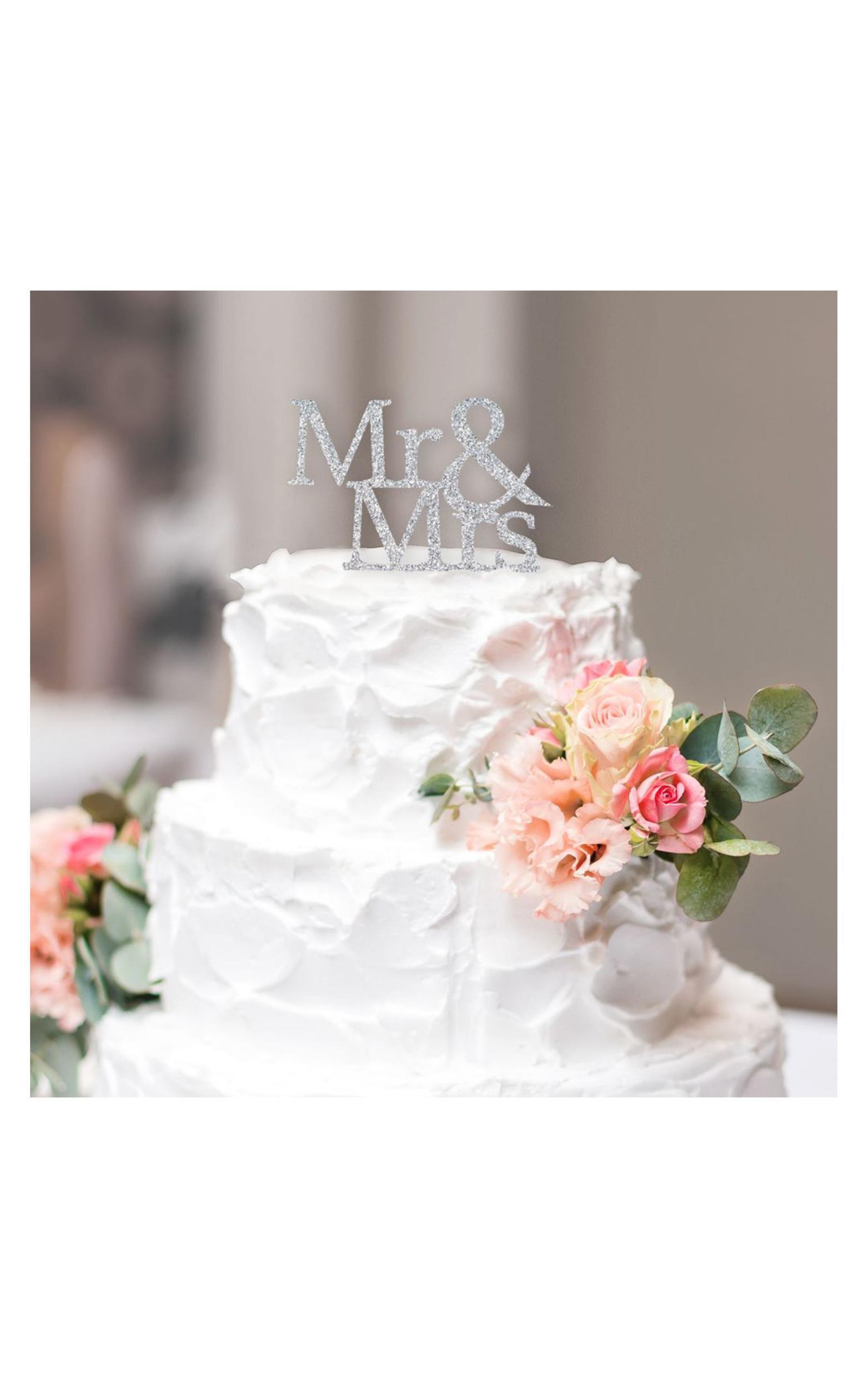 Mr & Mrs Wedding Cake Topper In Silver Glitter, , hi-res image number null