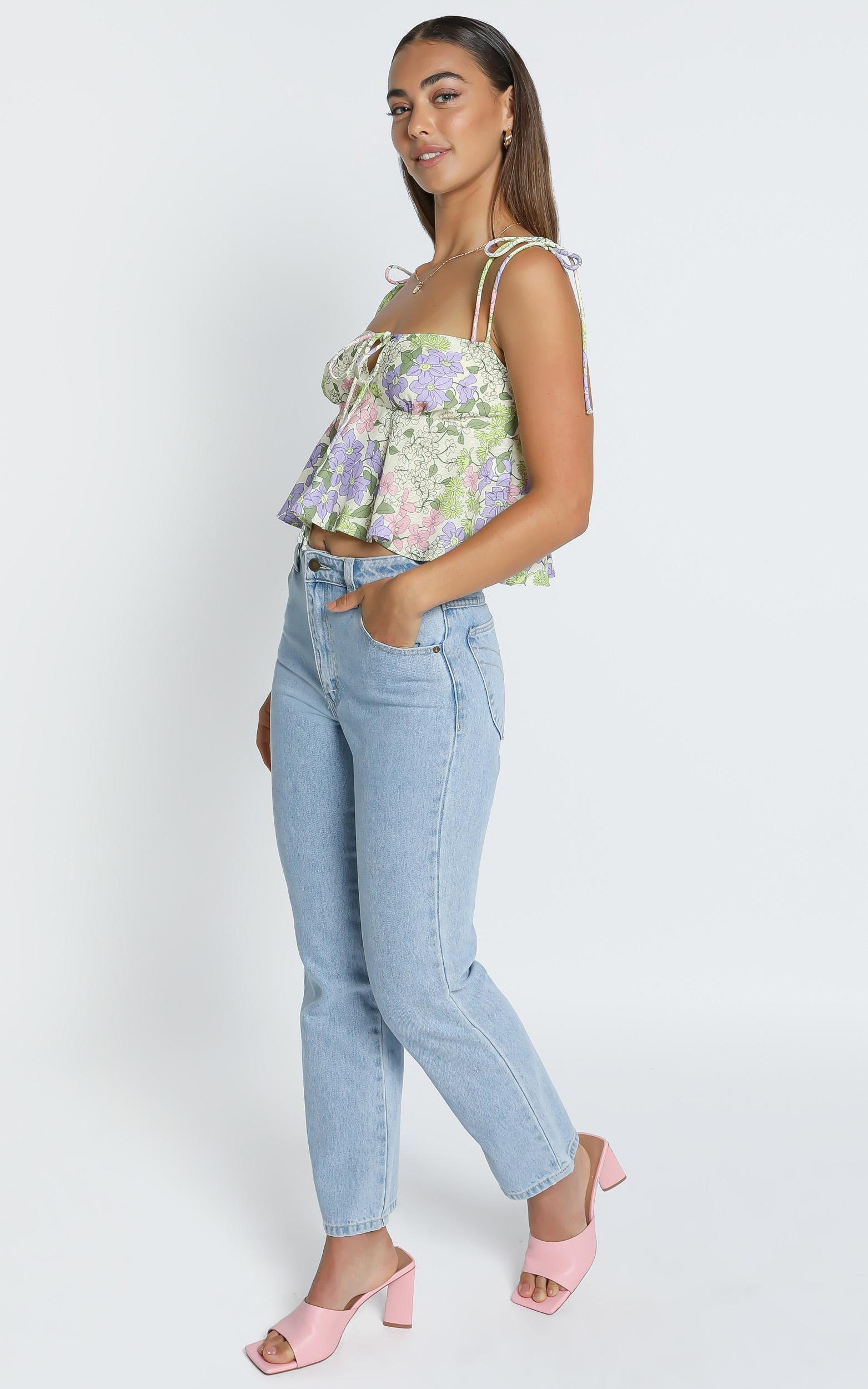 Aint No Sweetie Top in Garden Floral - 4 (XXS), Green, hi-res image number null