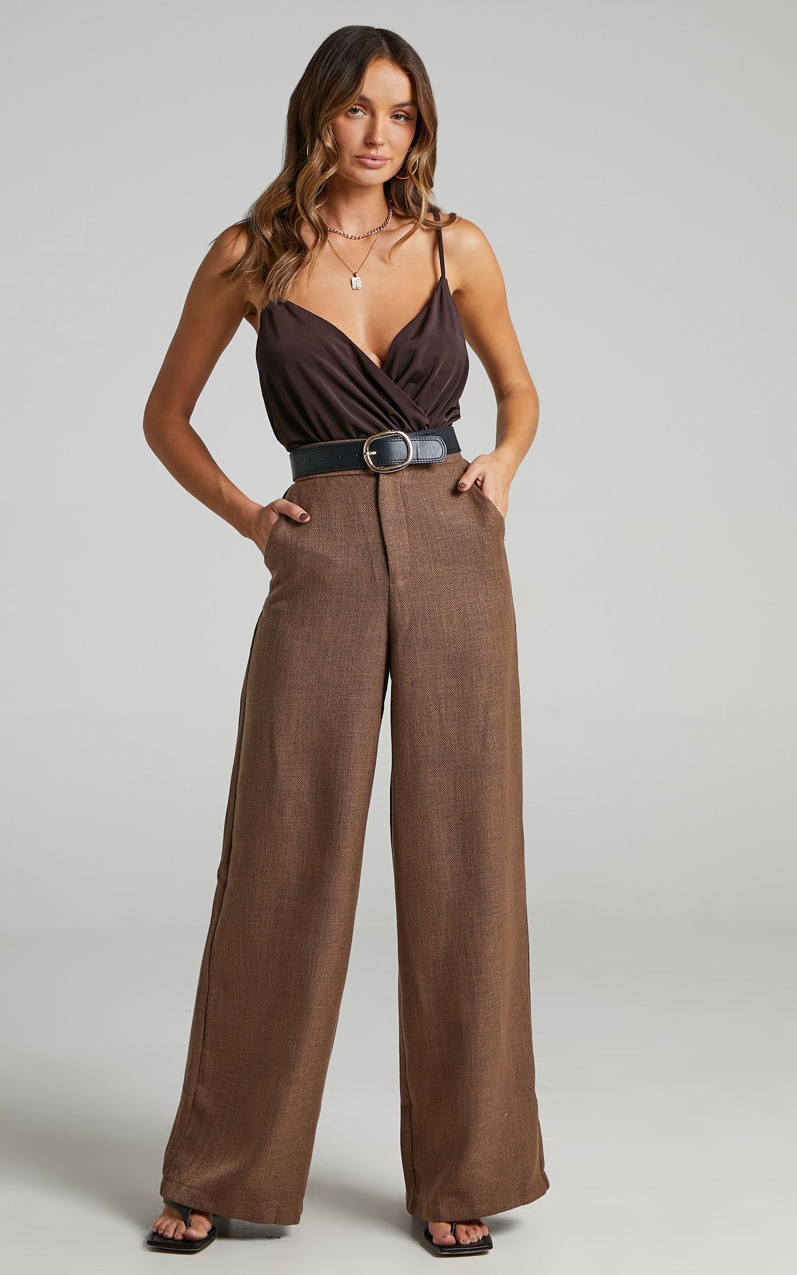 Jacintah Twill Pants in Chocolate - 16, BRN1, hi-res image number null
