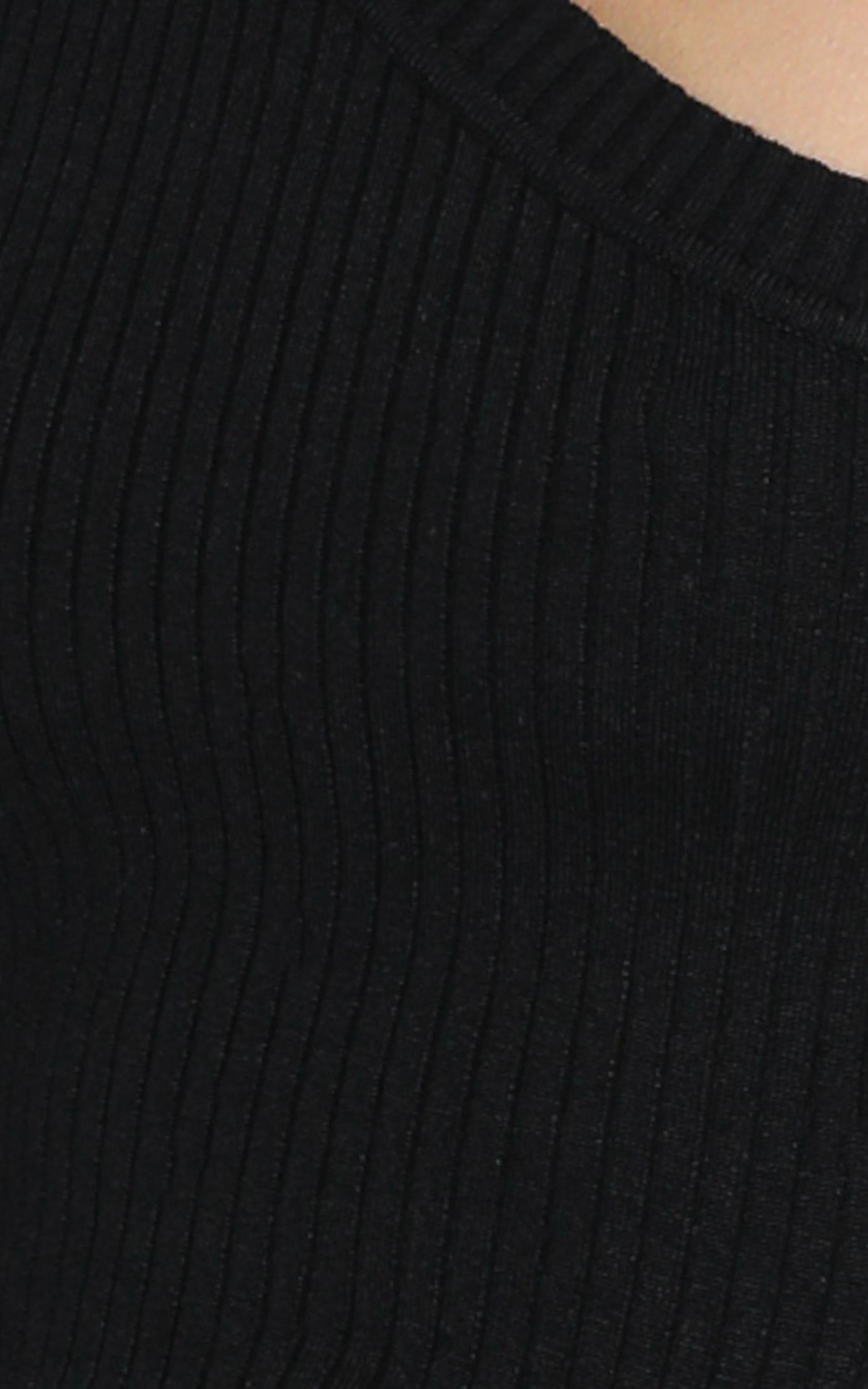 Larisa Asymetric Knit Top in Black - S, Black, hi-res image number null