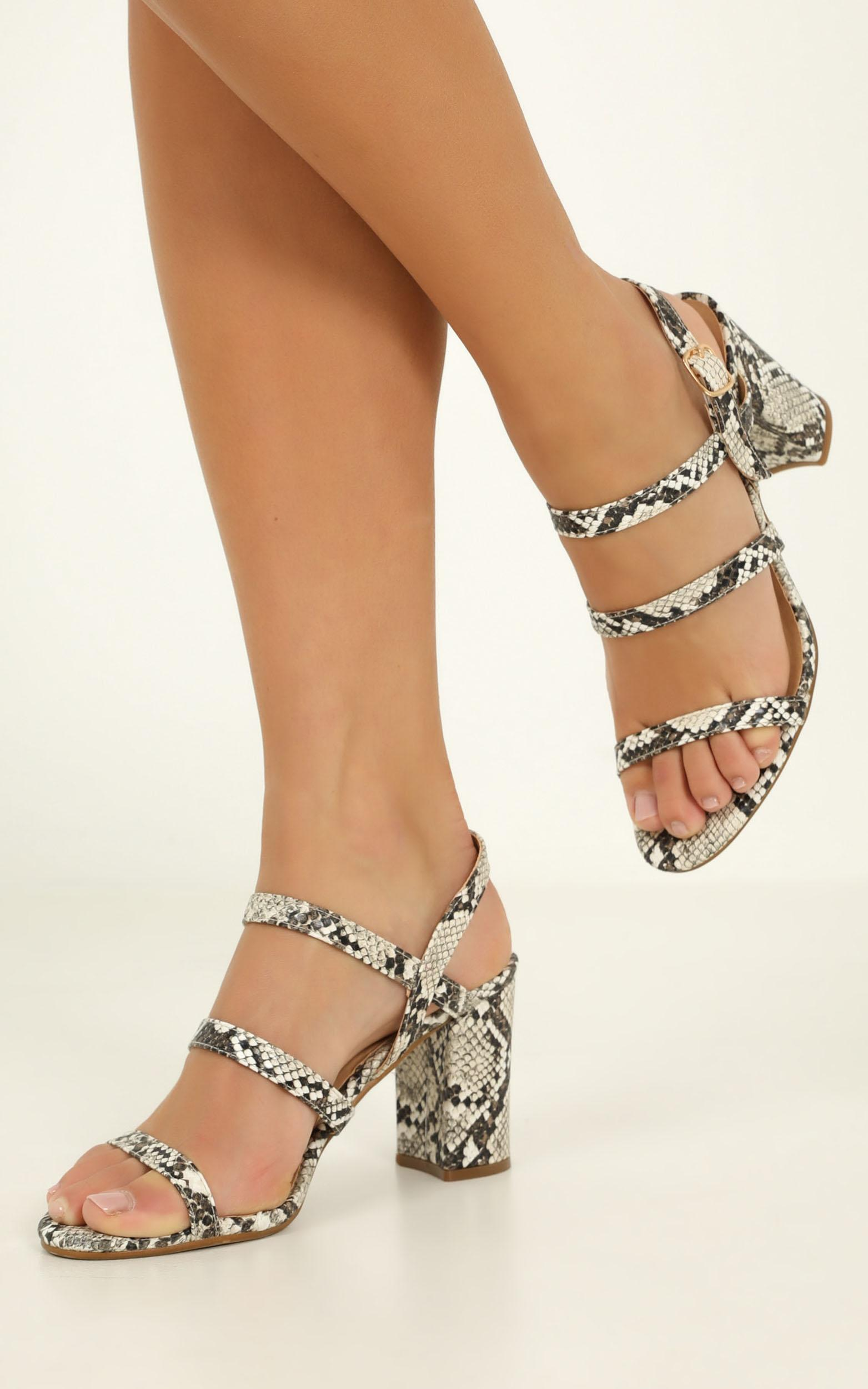 Billini - Raiya heels in cream snake - 10, Grey, hi-res image number null