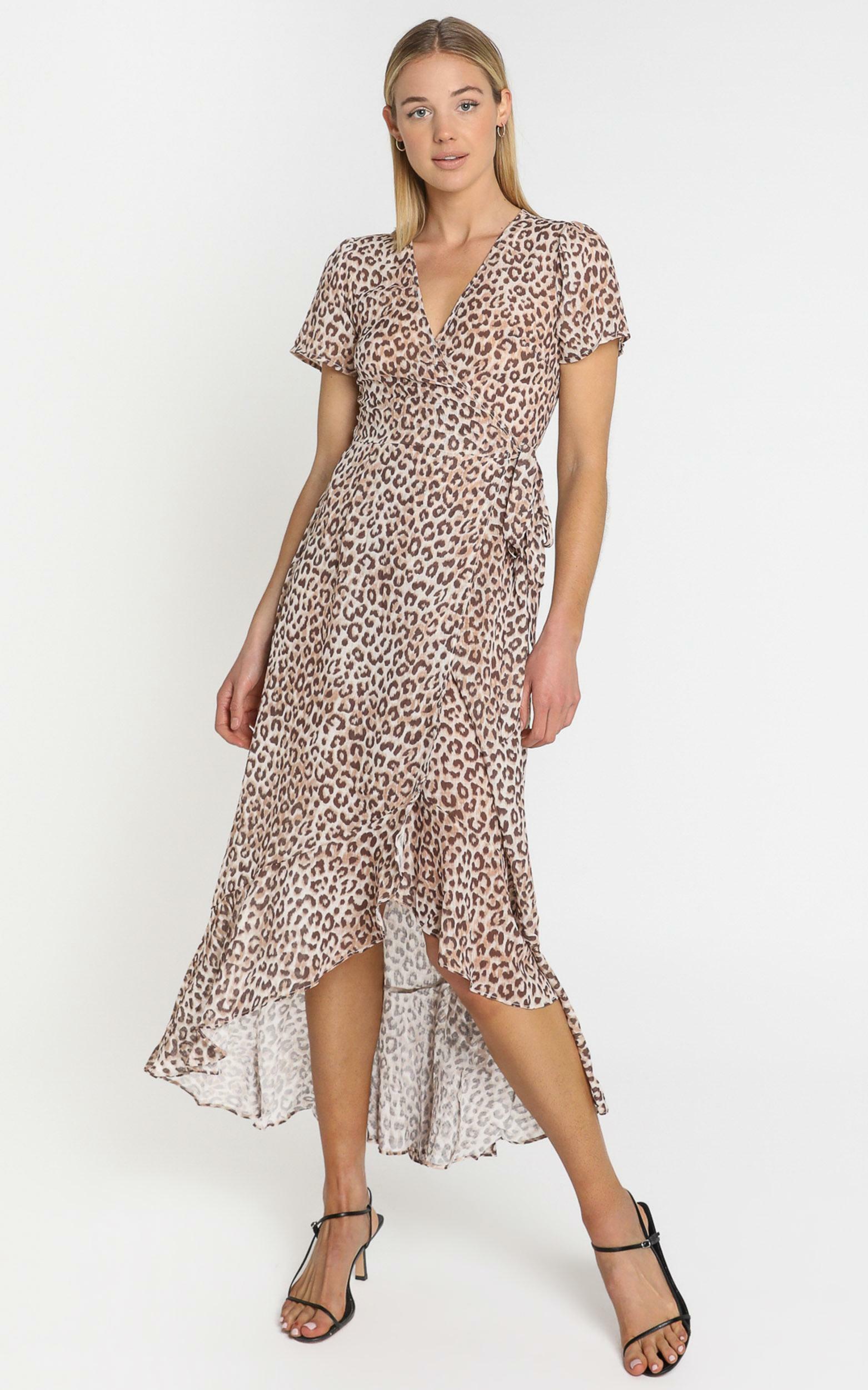 Malika Dress in Leopard Print - 6 (XS), Tan, hi-res image number null