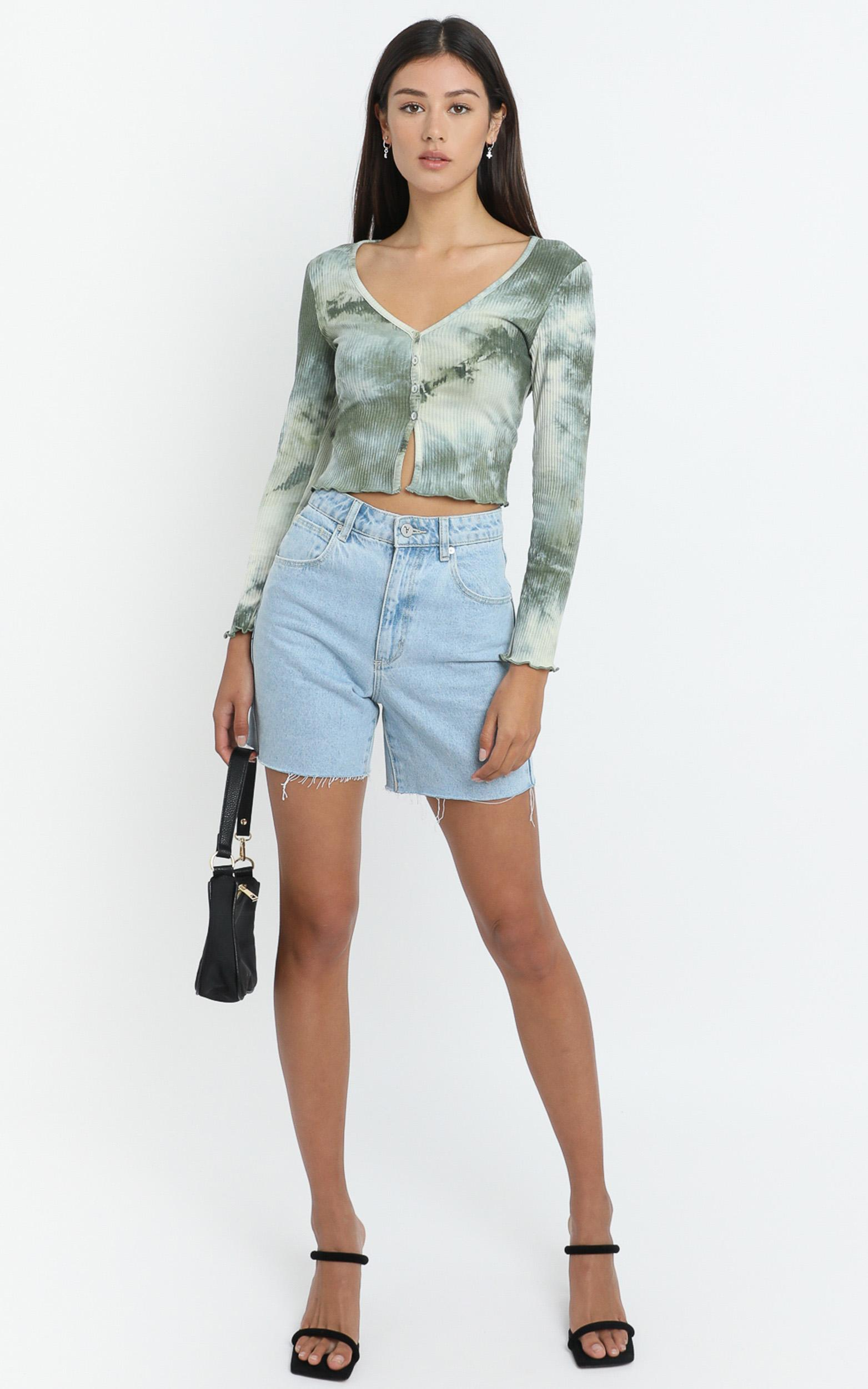 Nimi Top in Forest Tie Dye - 6 (XS), Green, hi-res image number null