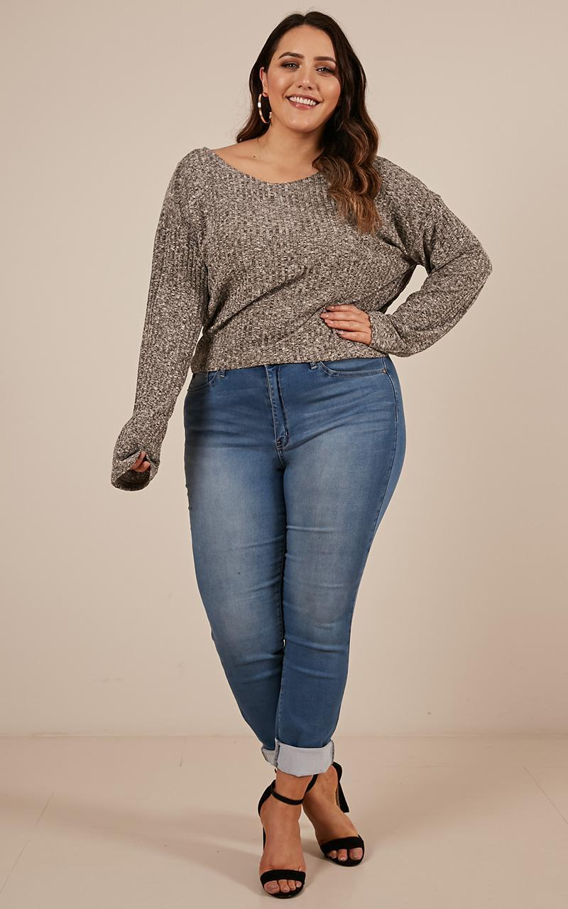 Burning Love Top in grey marl - 20 (XXXXL), Grey, hi-res image number null