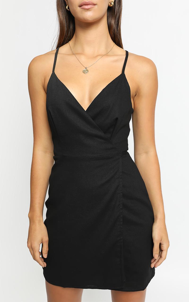 Whisper It Dress in Black Linen Look - 4 (XXS), Black, hi-res image number null