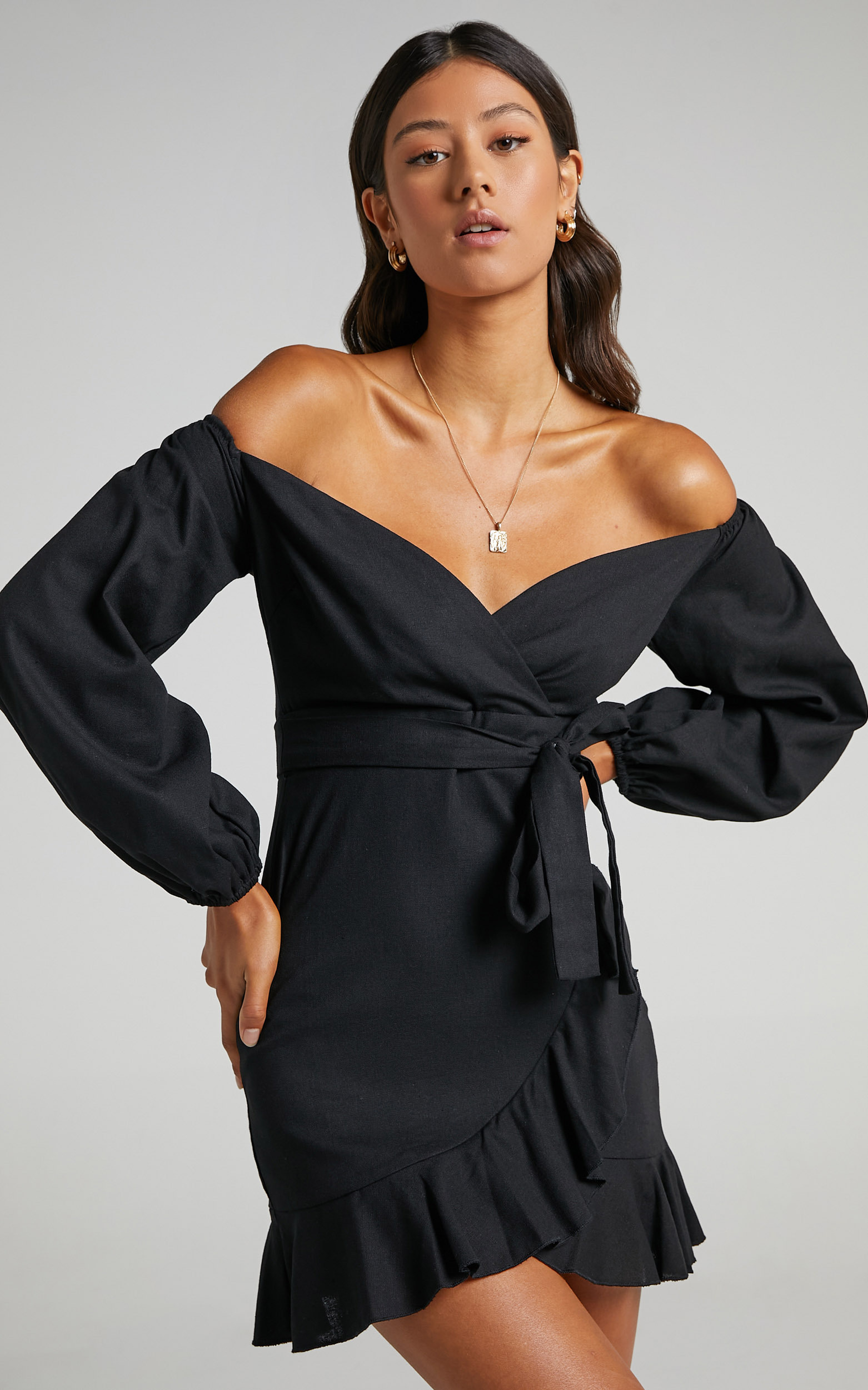 Cant Move On Dress in Black Linen Look - 08, BLK1, hi-res image number null