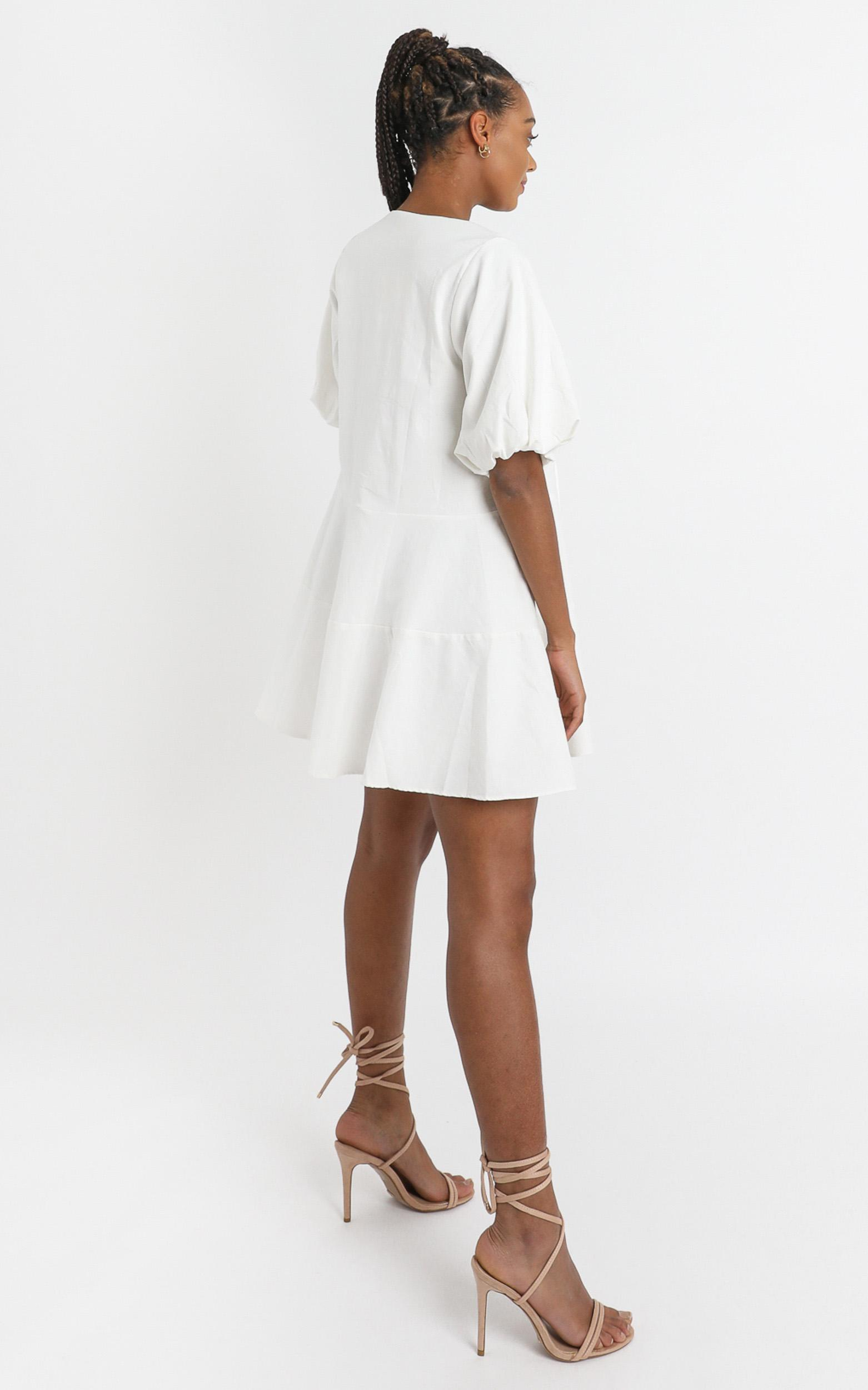Krizza Mini Dress in white linen look - 6 (XS), WHT1, hi-res image number null