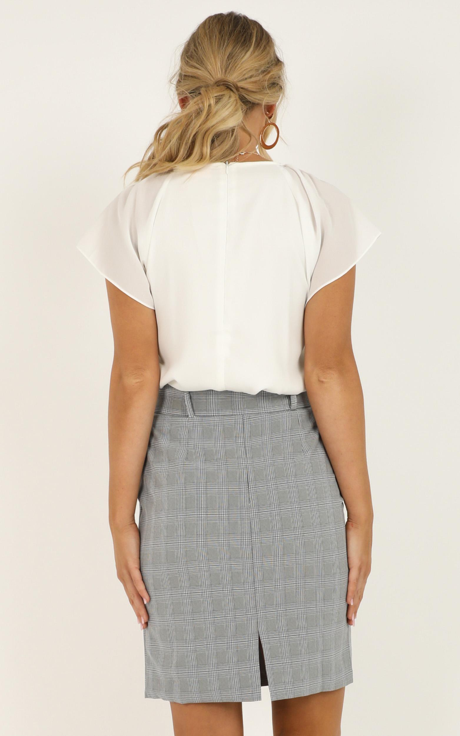 Planning Ahead Skirt in grey check - 20 (XXXXL), Grey, hi-res image number null
