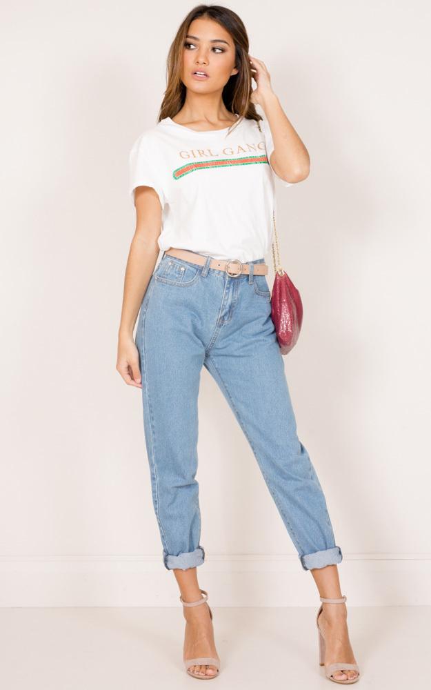 Angelina mum jeans in mid wash denim - 12 (L), Blue, hi-res image number null