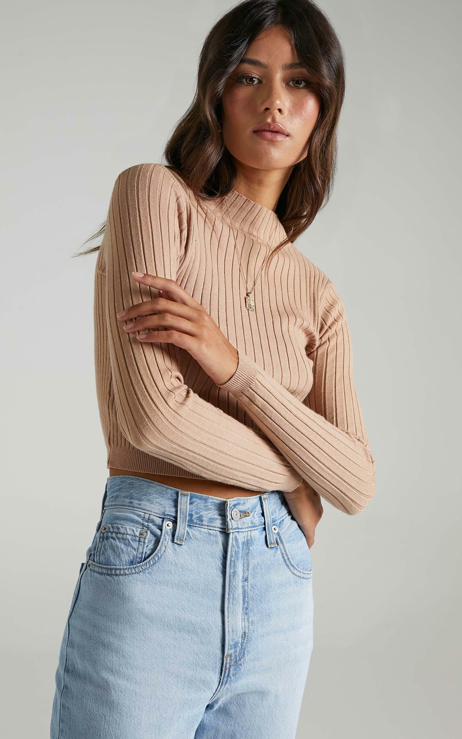 Downtown Dreams Knit top in Light Mocha - 6 (XS), Mocha, hi-res image number null
