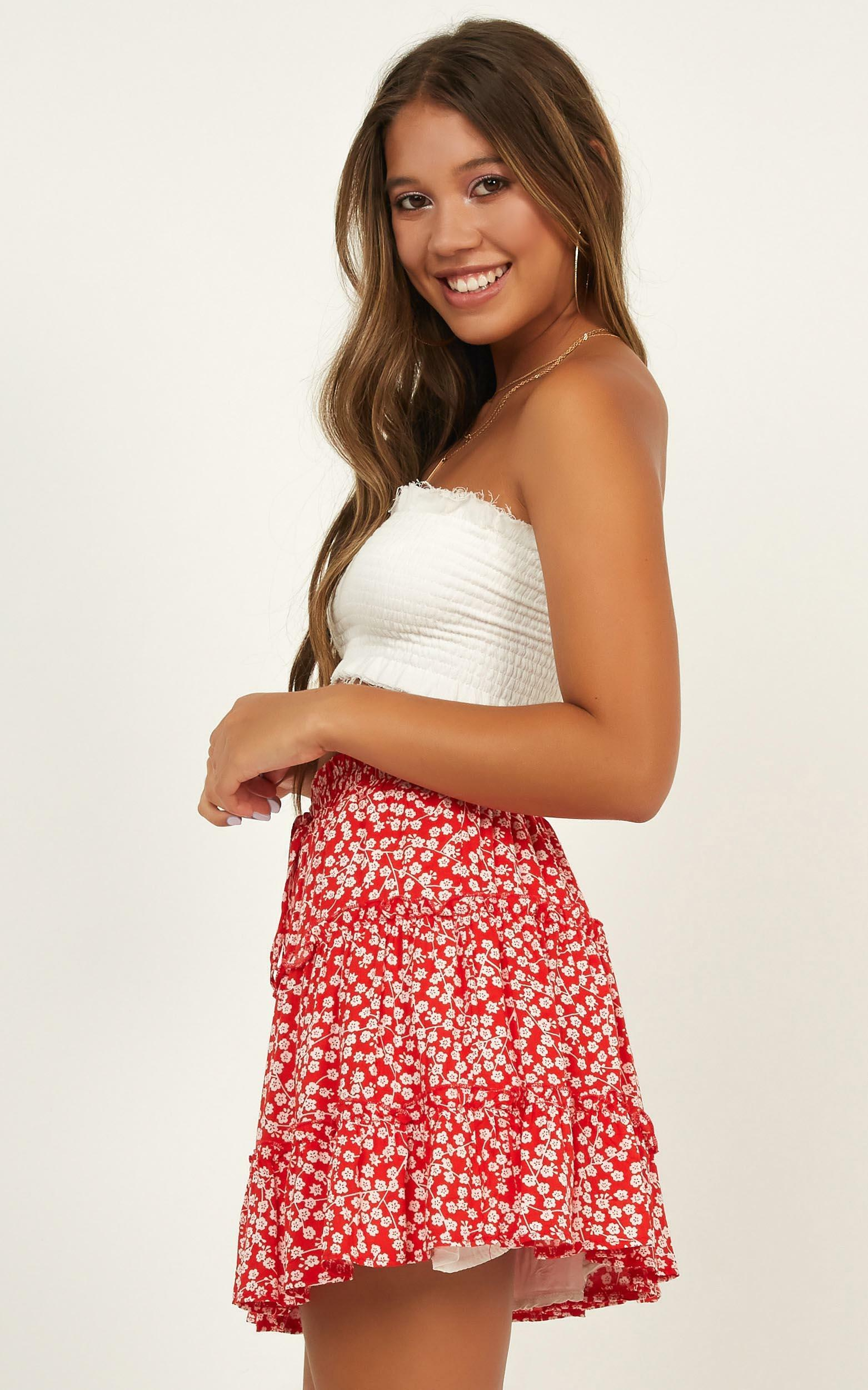 Ready For New Skirt In Red Floral - 18 (XXXL), Red, hi-res image number null
