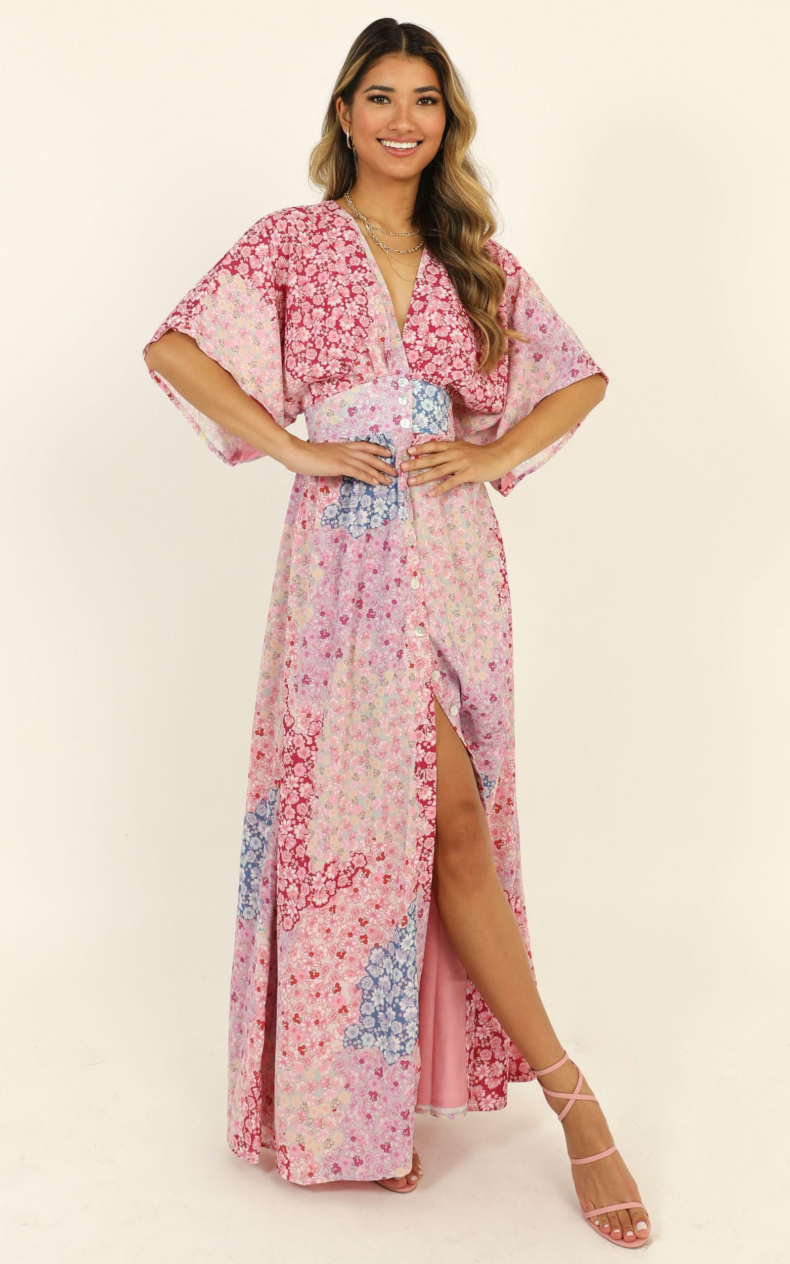 Sitting Pretty Dress in pink floral - 20 (XXXXL), Pink, hi-res image number null