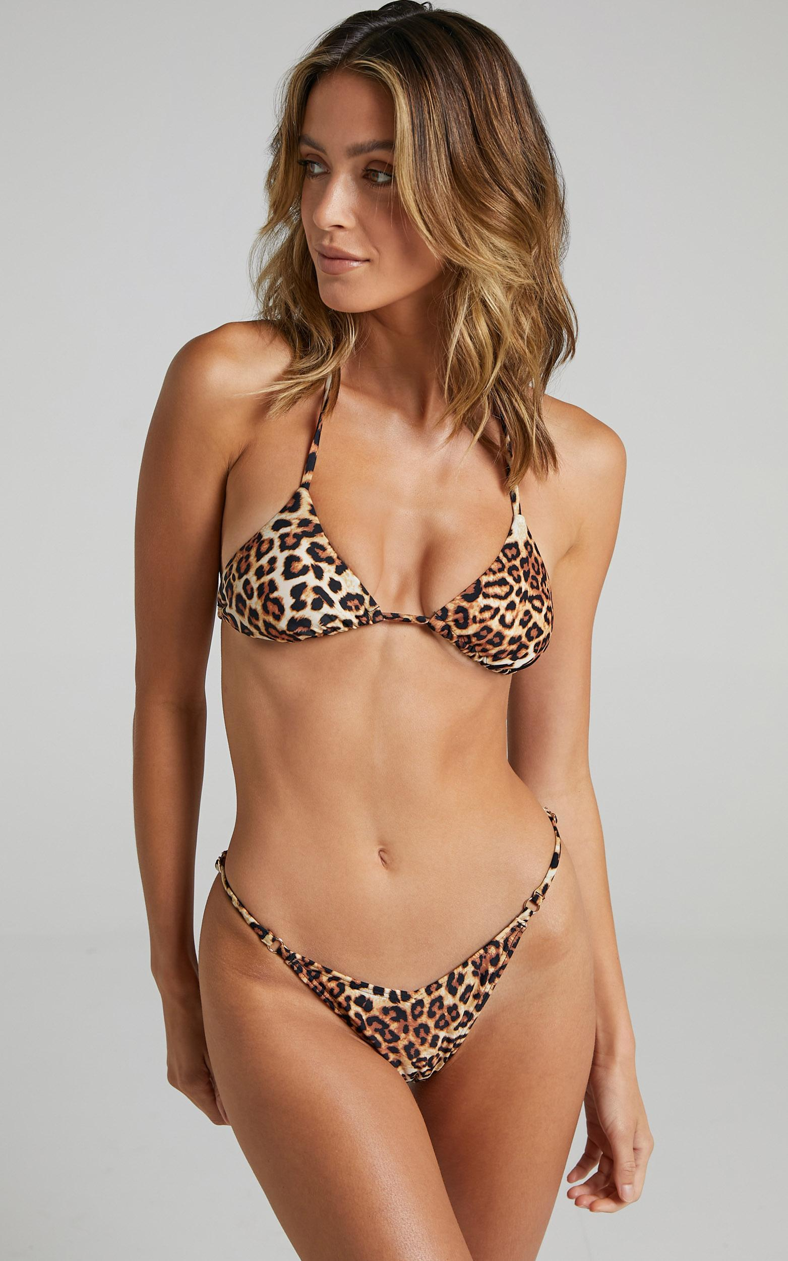 Twiin - Cindy Strappy Bikini Bottoms in Leopard - XS, Brown, hi-res image number null
