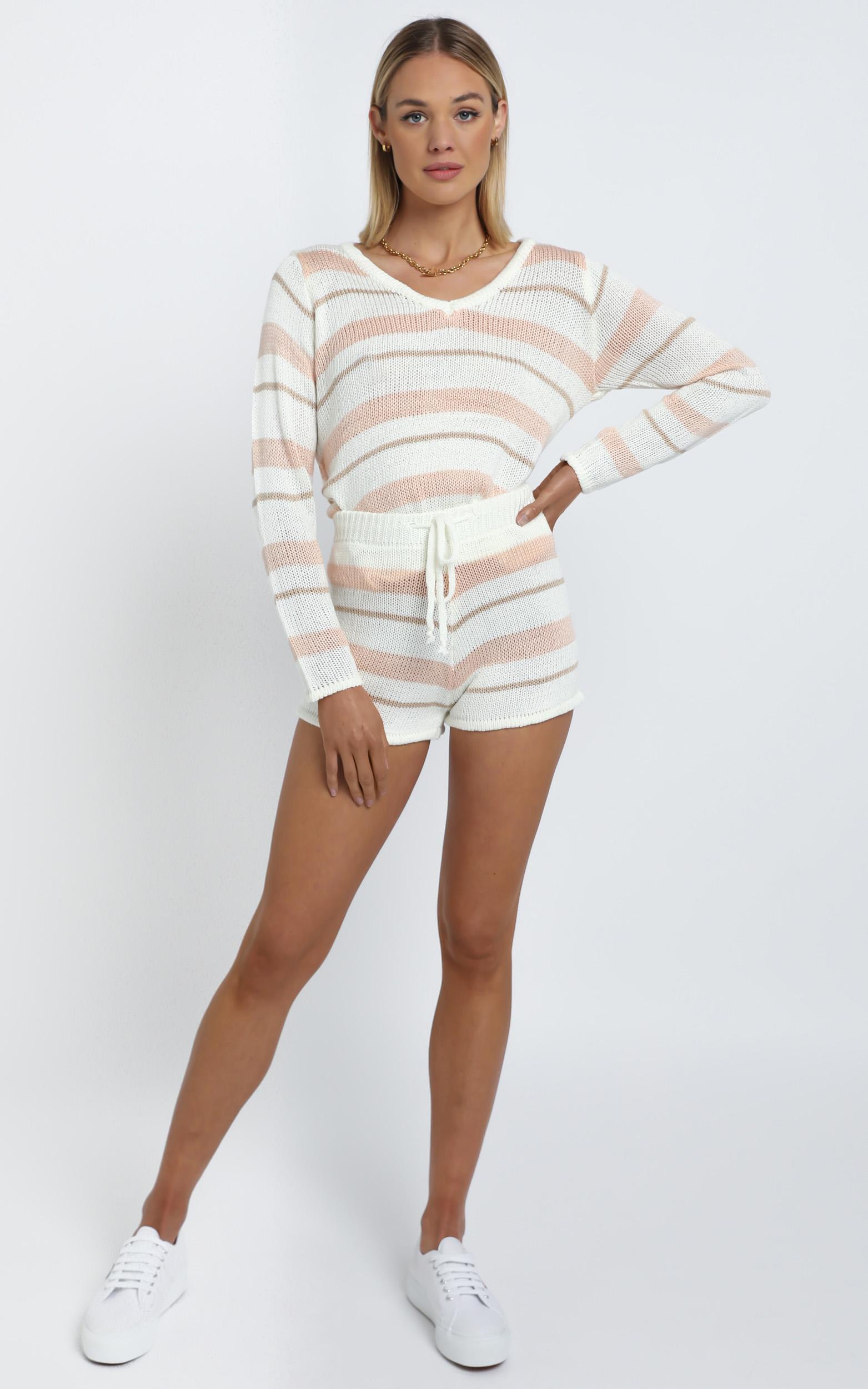 Callahan Knit Two Piece Set in Beige Stripe - L, Beige, hi-res image number null