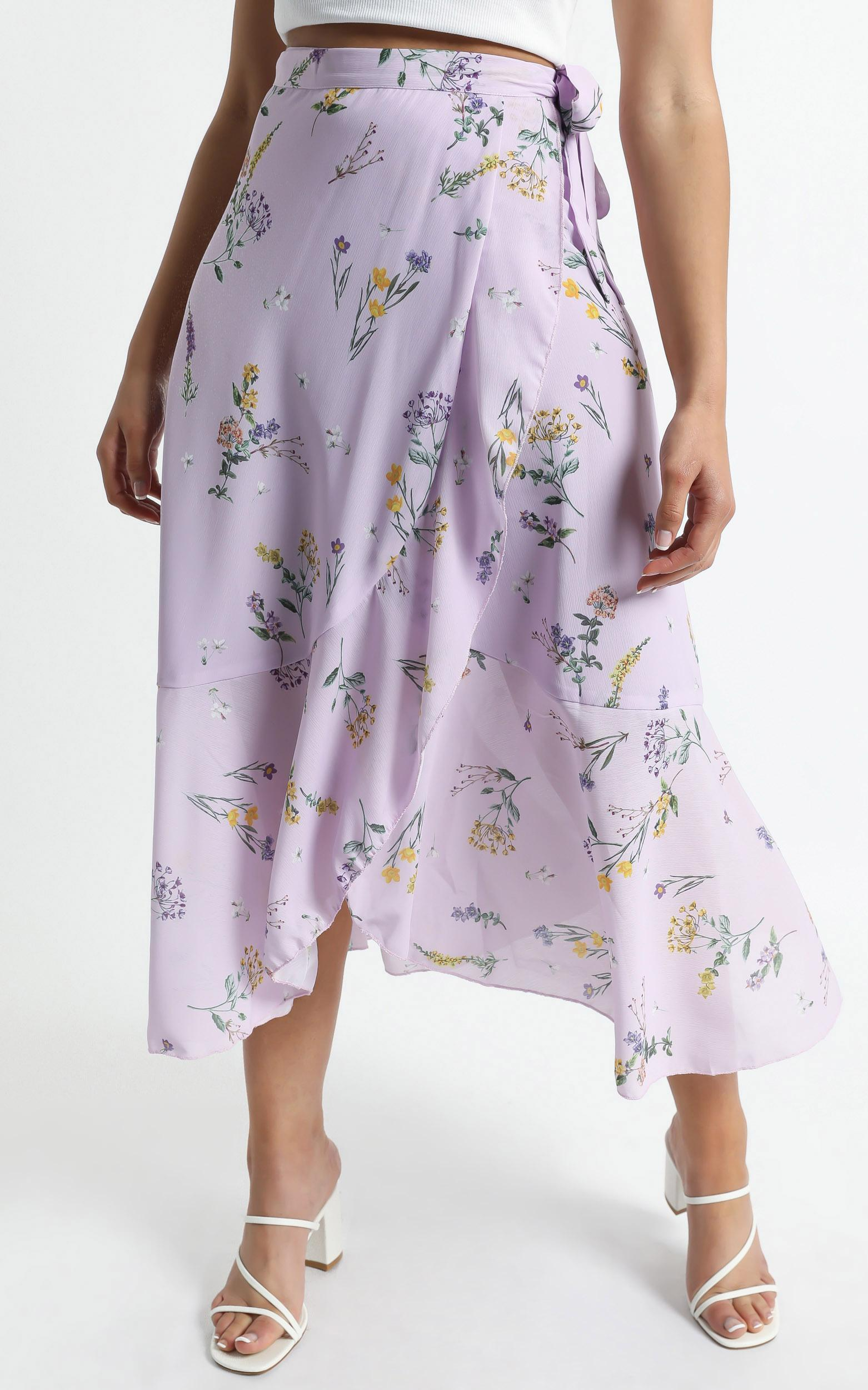 Add To The Mix Skirt in Lavender Botanical Floral - 6 (XS), Purple, hi-res image number null