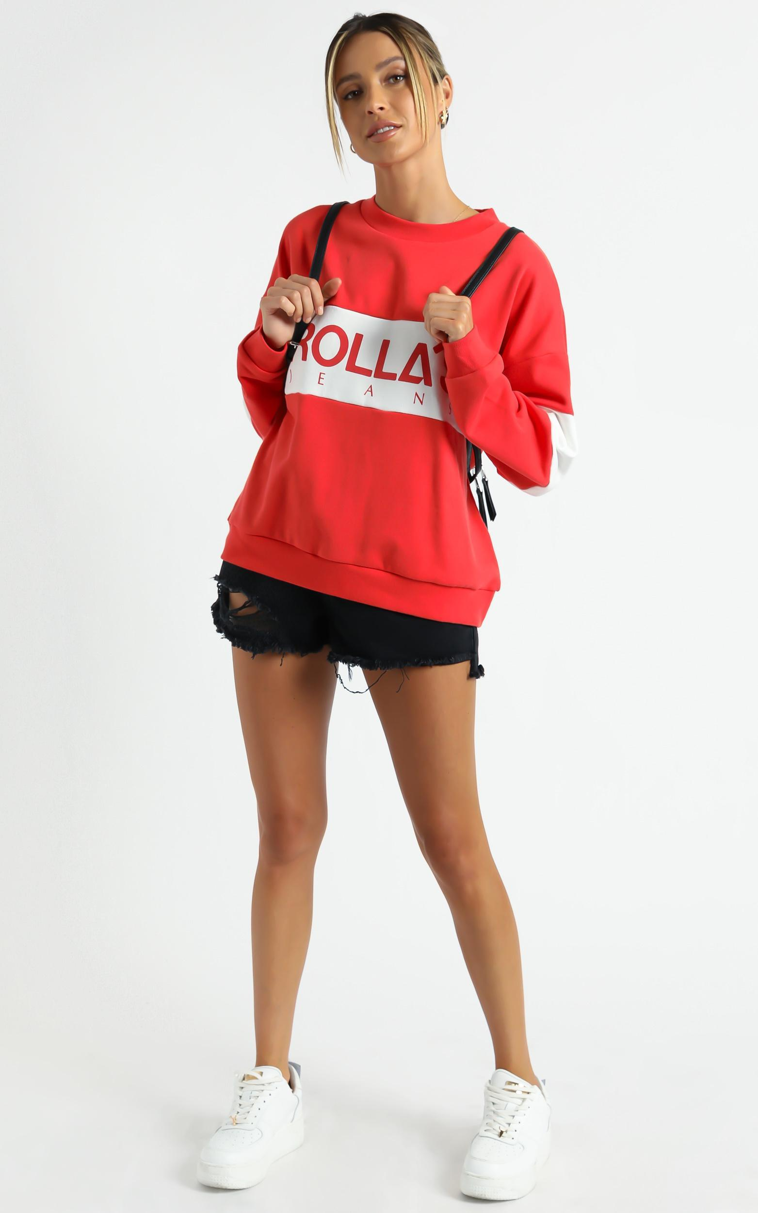 Rollas - Logo Split Sweater in Faded Red - 06, RED1, hi-res image number null