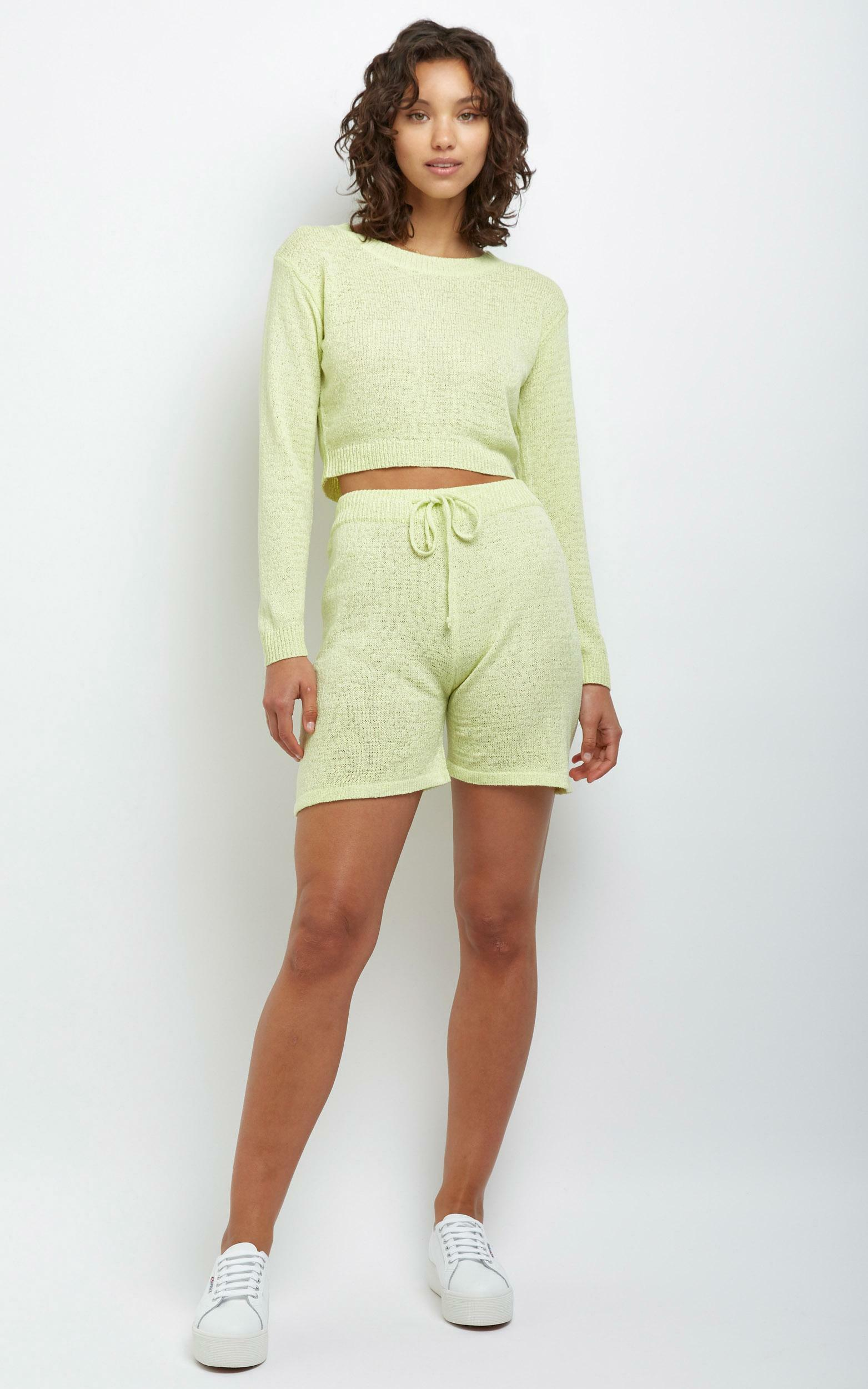Dacia Knit Shorts in Yellow - L, Yellow, hi-res image number null