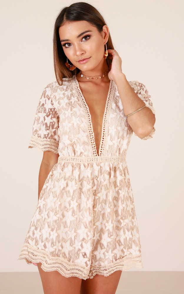 Love Land playsuit in beige lace - 14 (XL), Beige, hi-res image number null