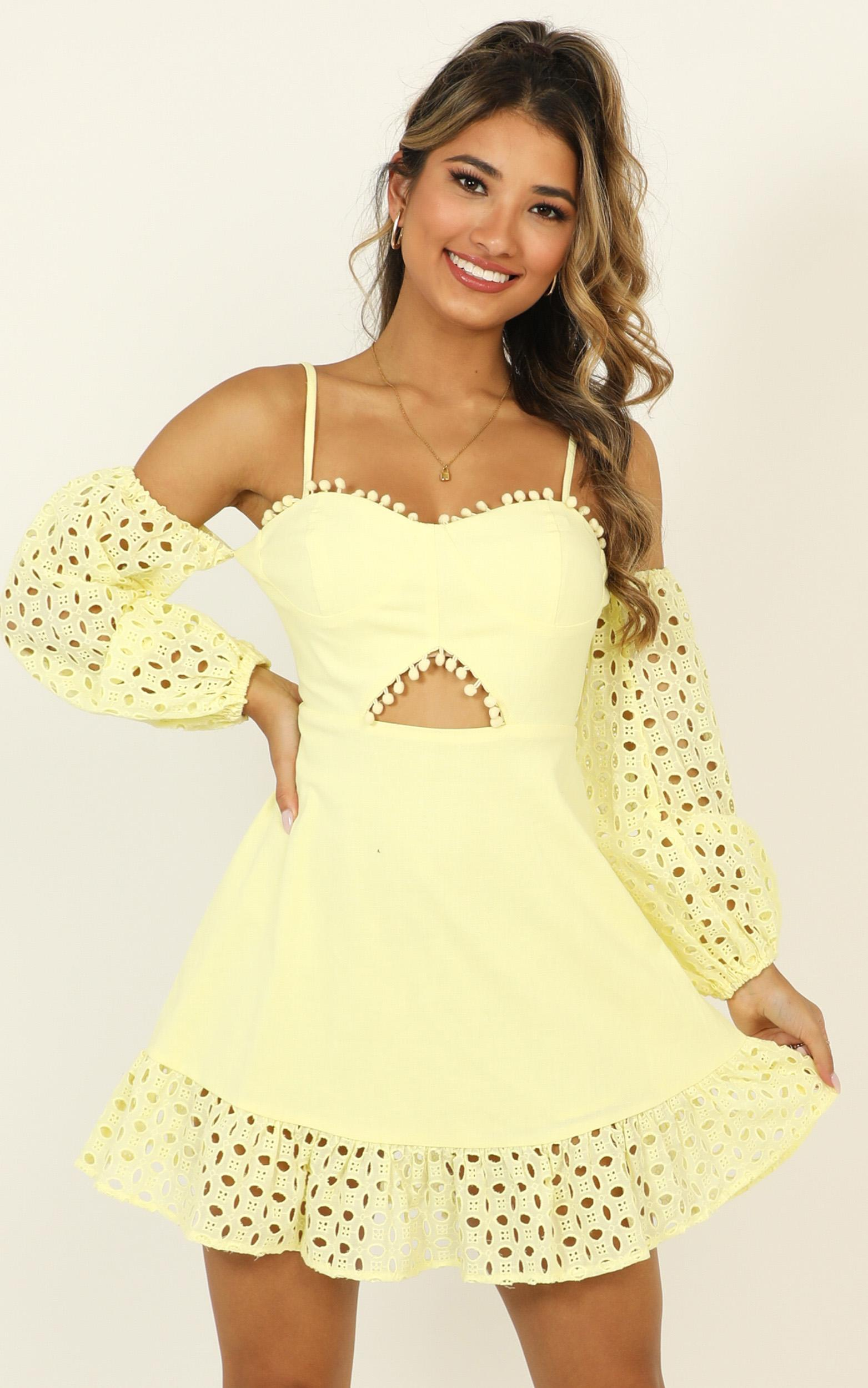 I Got Many Different Names Dress in lemon - 14 (XL), Yellow, hi-res image number null
