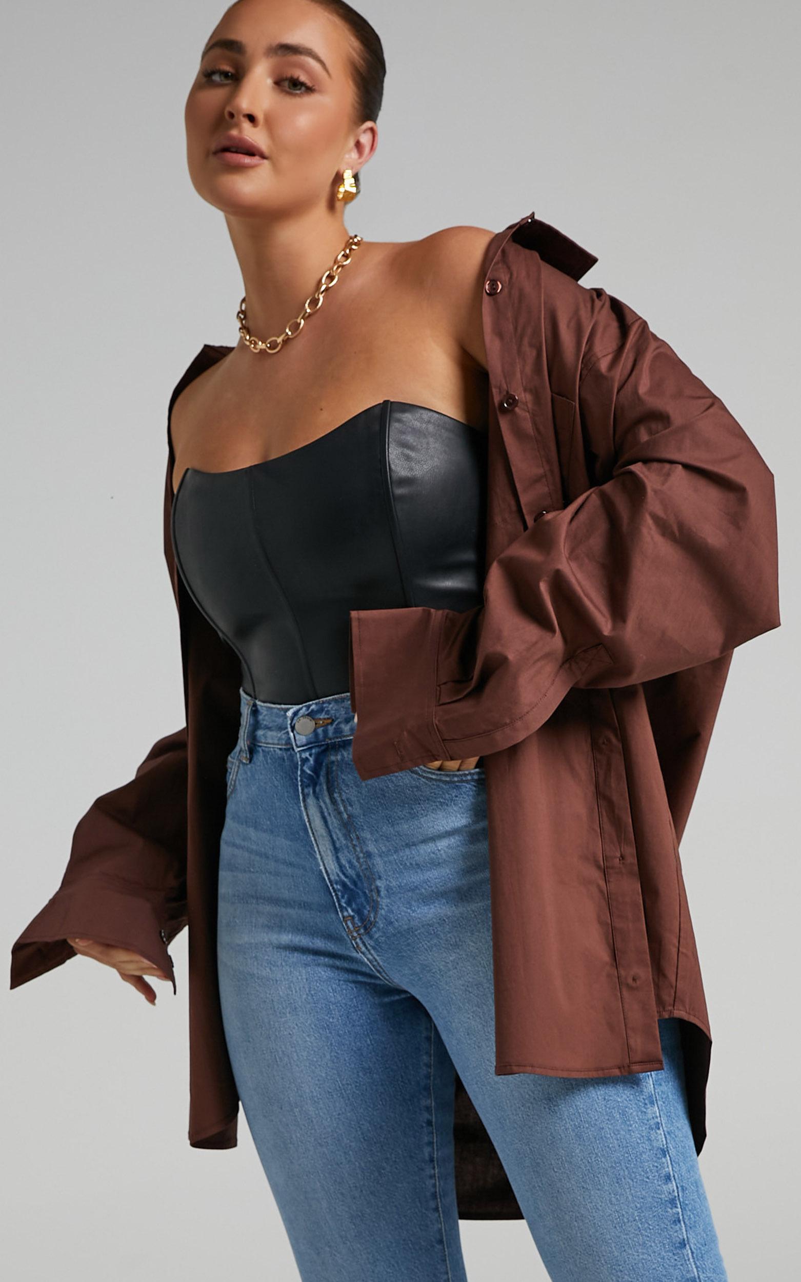 Janaya Longsleeve Shirt Dress in Chocolate - 06, BRN1, hi-res image number null