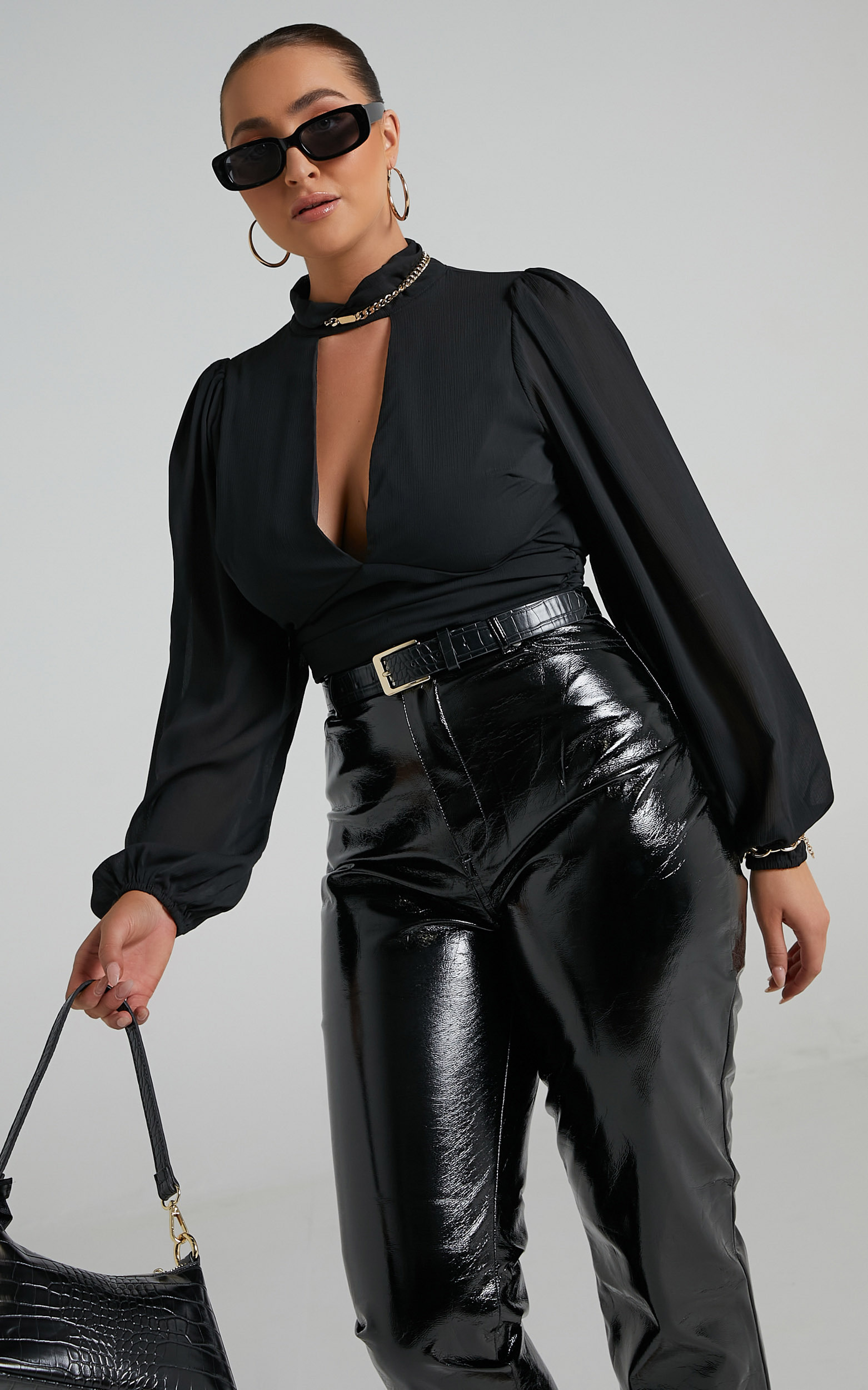 Monterey Front Key Hole Cropped Blouse in Black - 06, BLK1, hi-res image number null