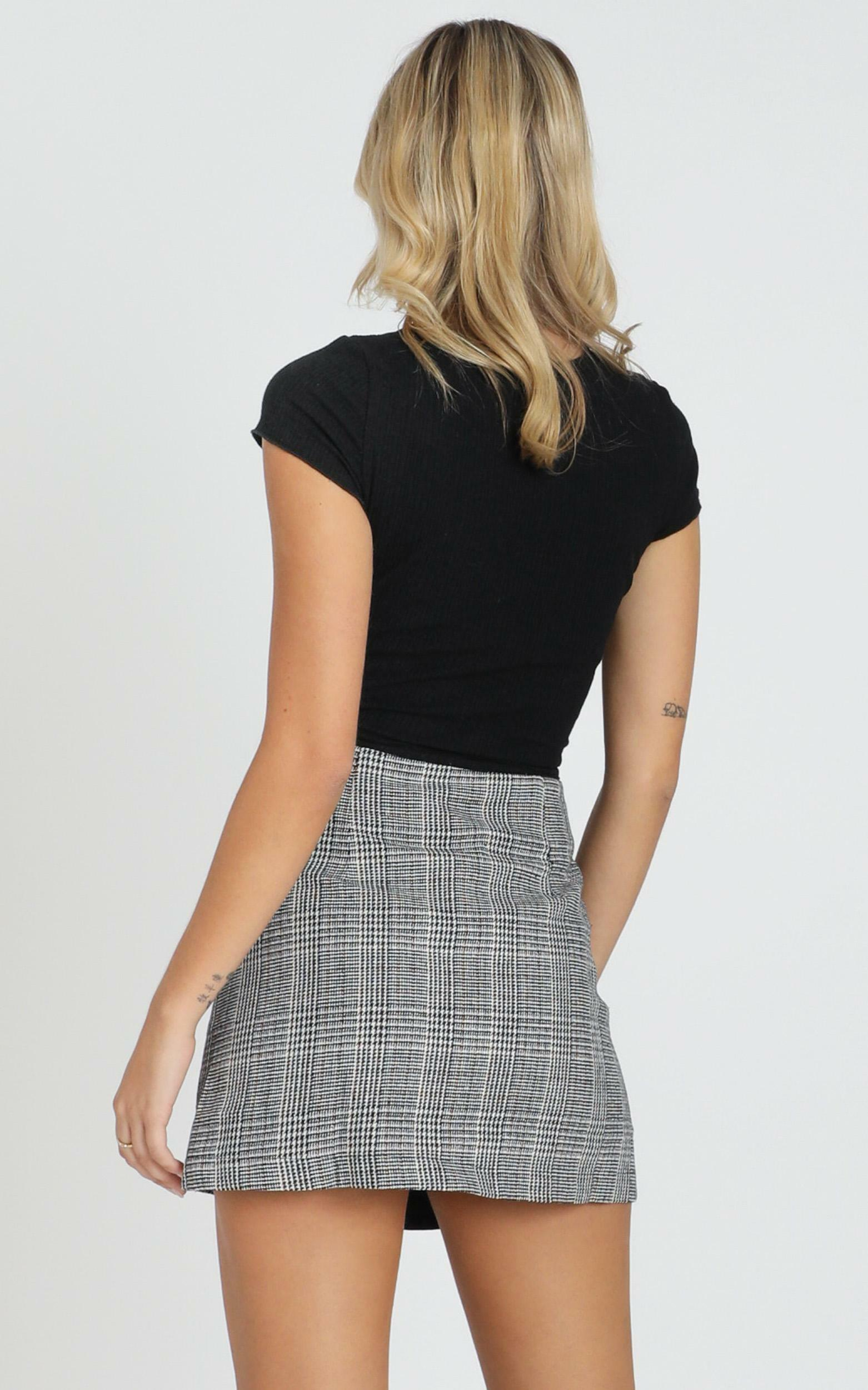 Thoughts Of You Skirt In Black Check - 4 (XXS), BLK1, hi-res image number null