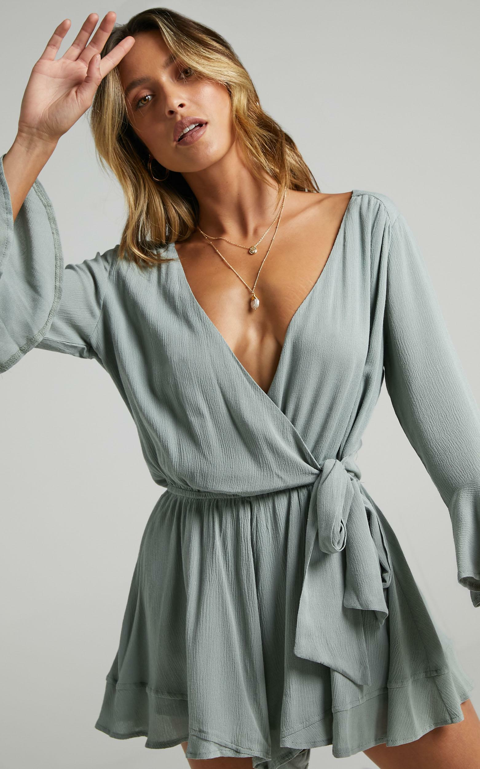Sunday Breeze playsuit in sage - 4 (XXS), Sage, hi-res image number null