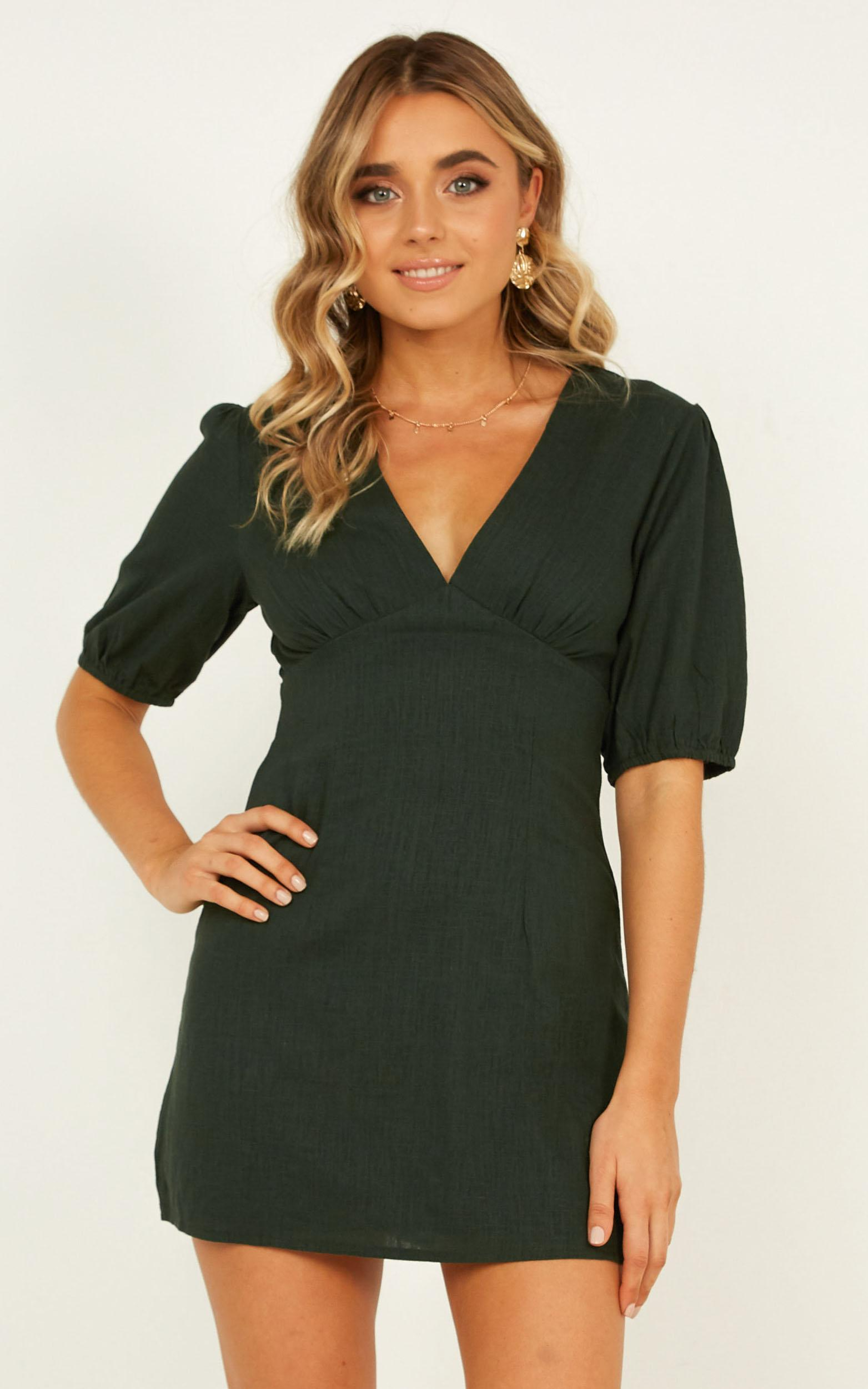 Endless Power Dress In emerald linen look - 14 (XL), Green, hi-res image number null