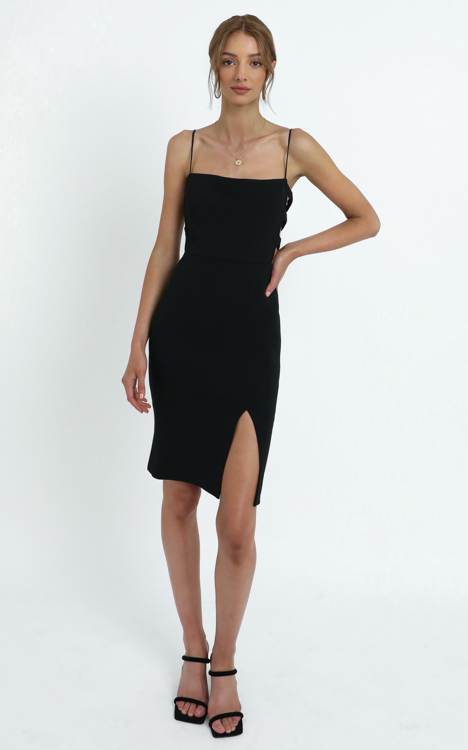 Leanne cut out midi dress in Black - 12 (L), Black, hi-res image number null