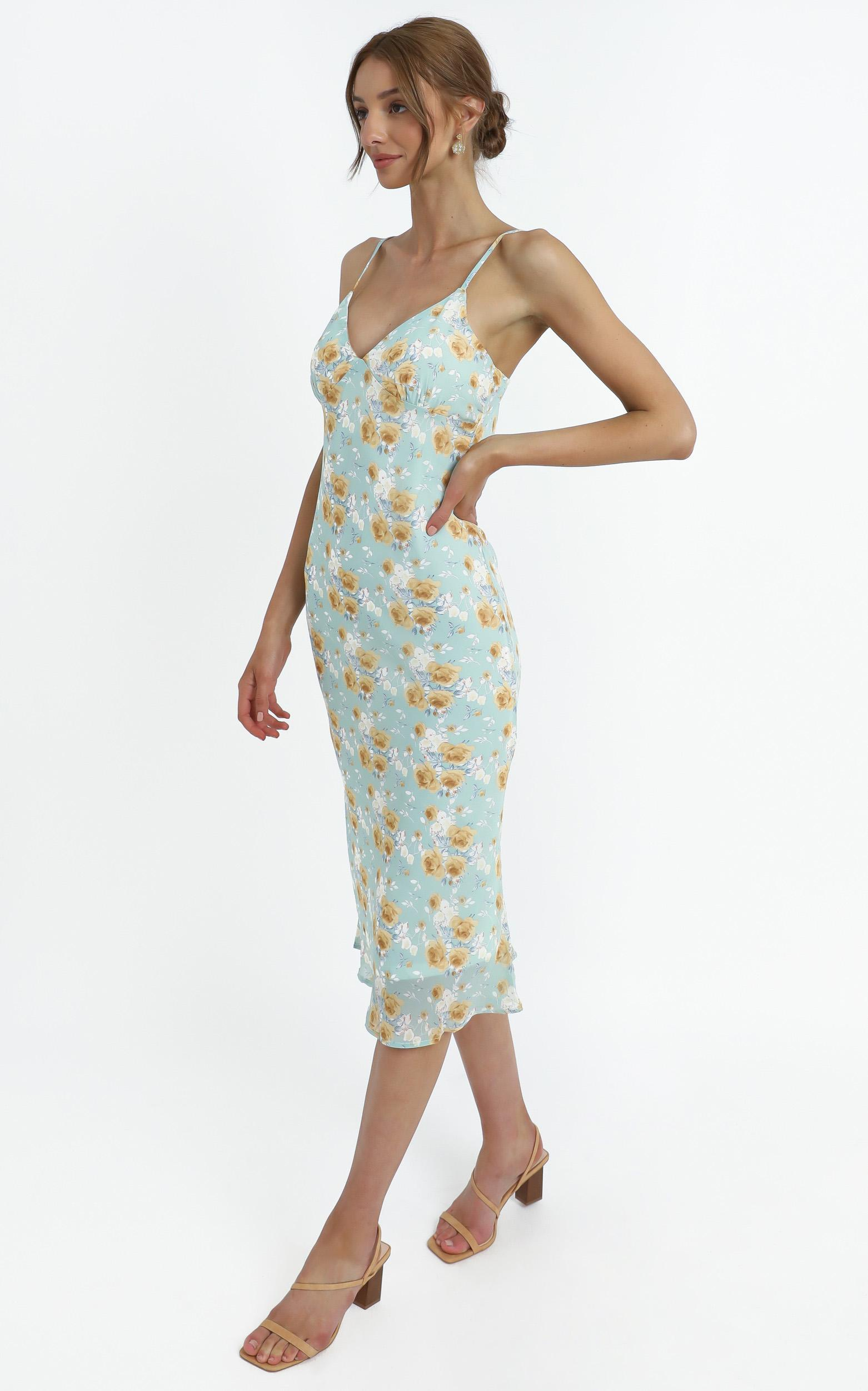 Mariella Dress in Teal Floral - 14 (XL), Blue, hi-res image number null