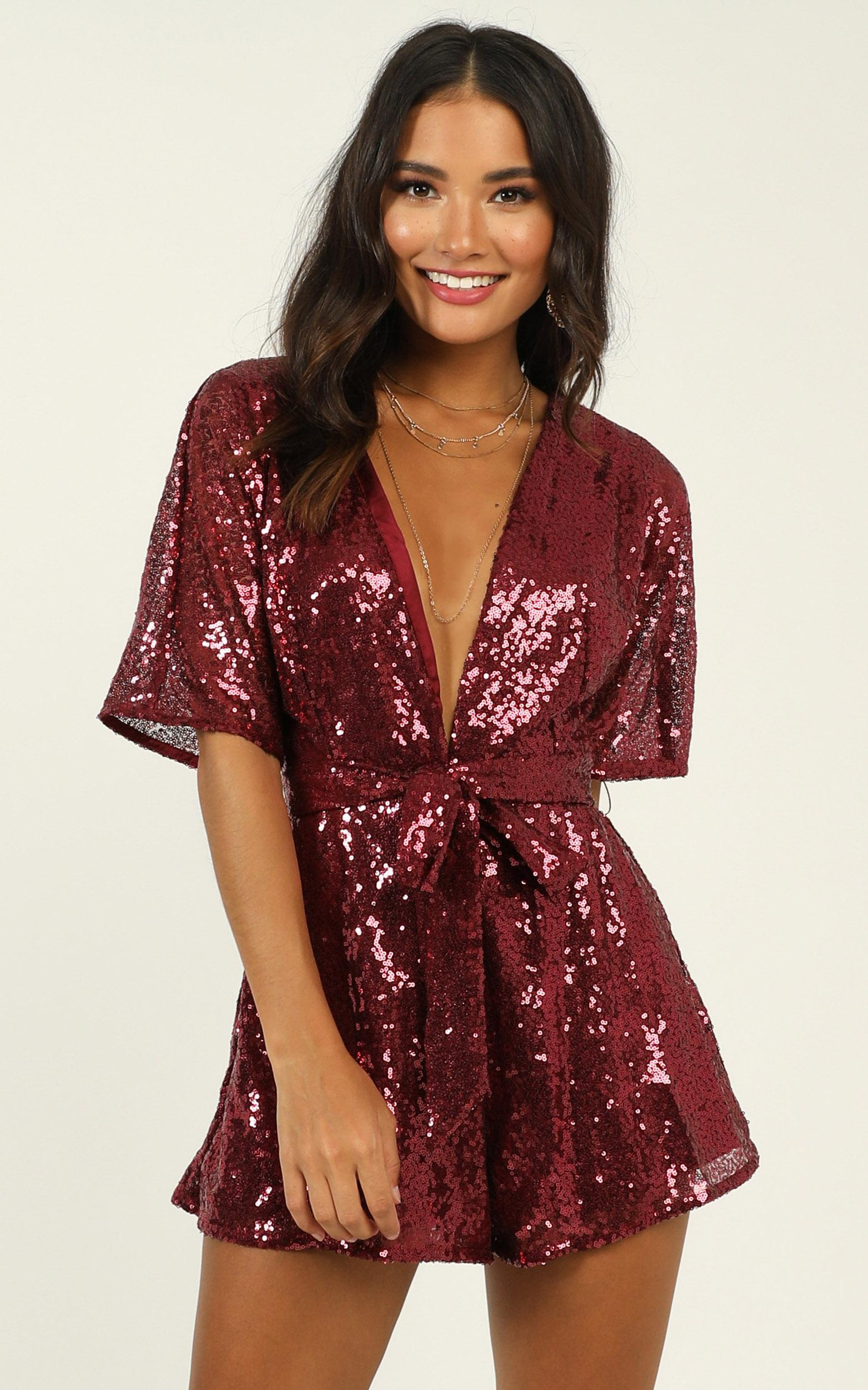 Star Behaviour Playsuit in wine sequin - 20 (XXXXL), Wine, hi-res image number null