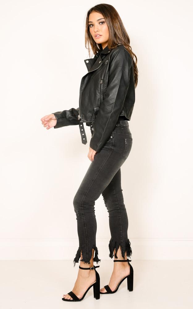 Rocker Chick jacket in black leatherette - 6 (XS), Black, hi-res image number null