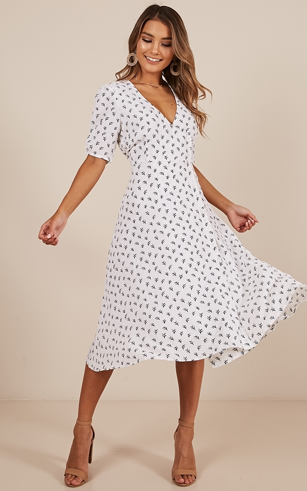 Yesterdays Story Dress in white print - 20 (XXXXL), White, hi-res image number null