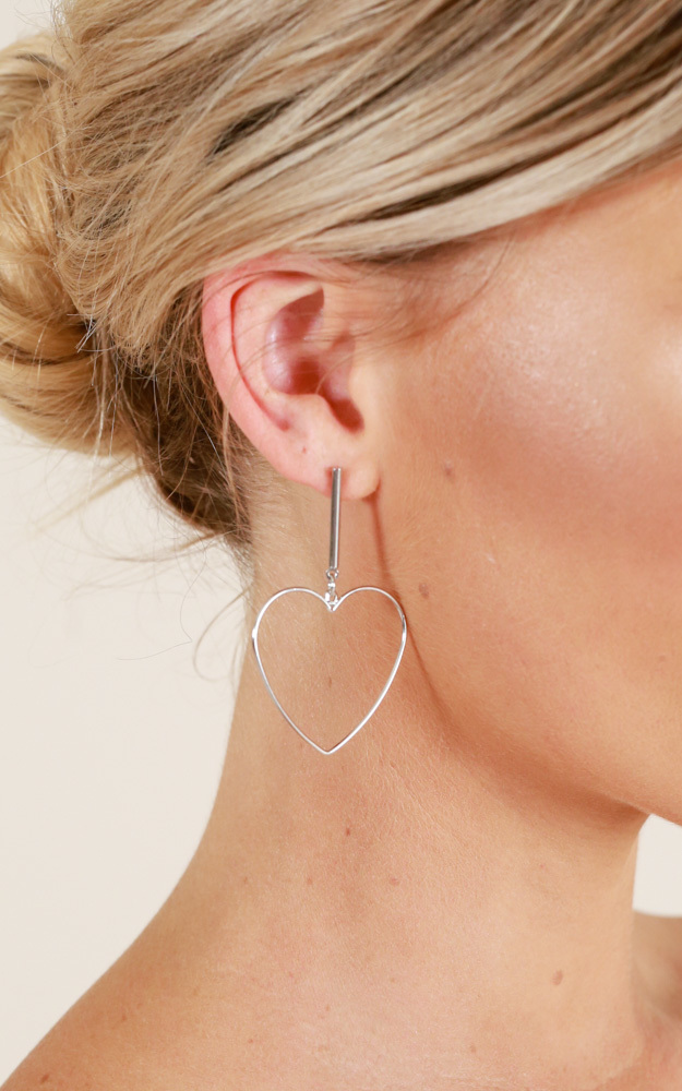 Love On The Brain earrings in silver, Silver, hi-res image number null