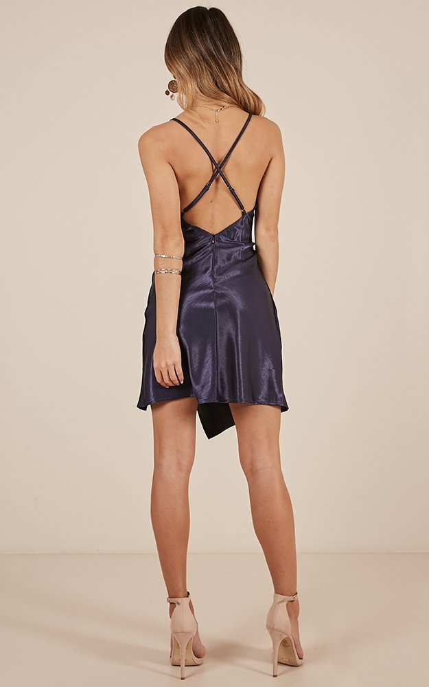 Stuck In My Head dress in navy satin - 6 (XS), Navy, hi-res image number null