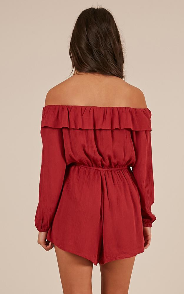 I Like That Playsuit in chilli linen look - 12 (L), Red, hi-res image number null