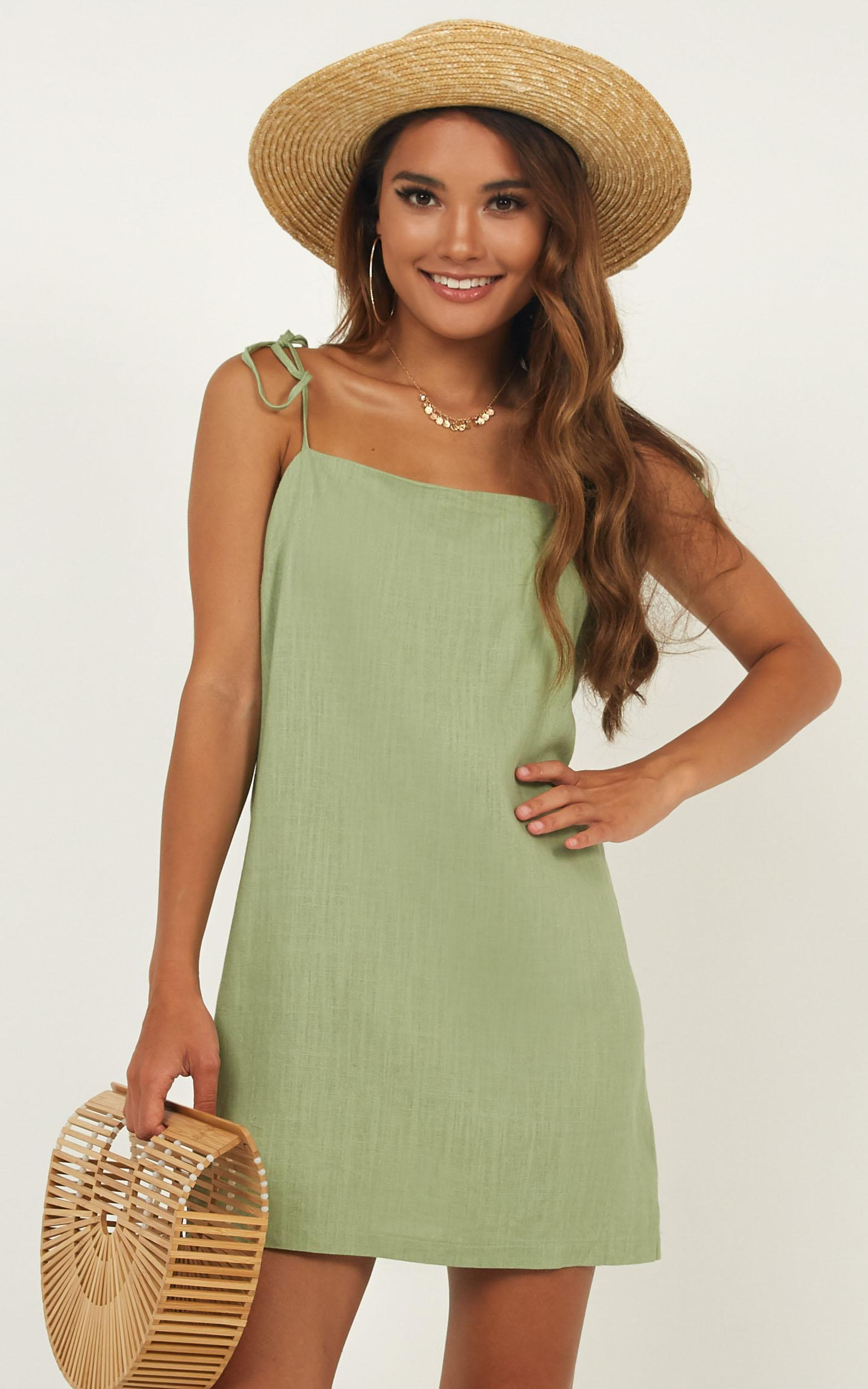 Say It Aint So Dress in sage linen look - 20 (XXXXL), Sage, hi-res image number null