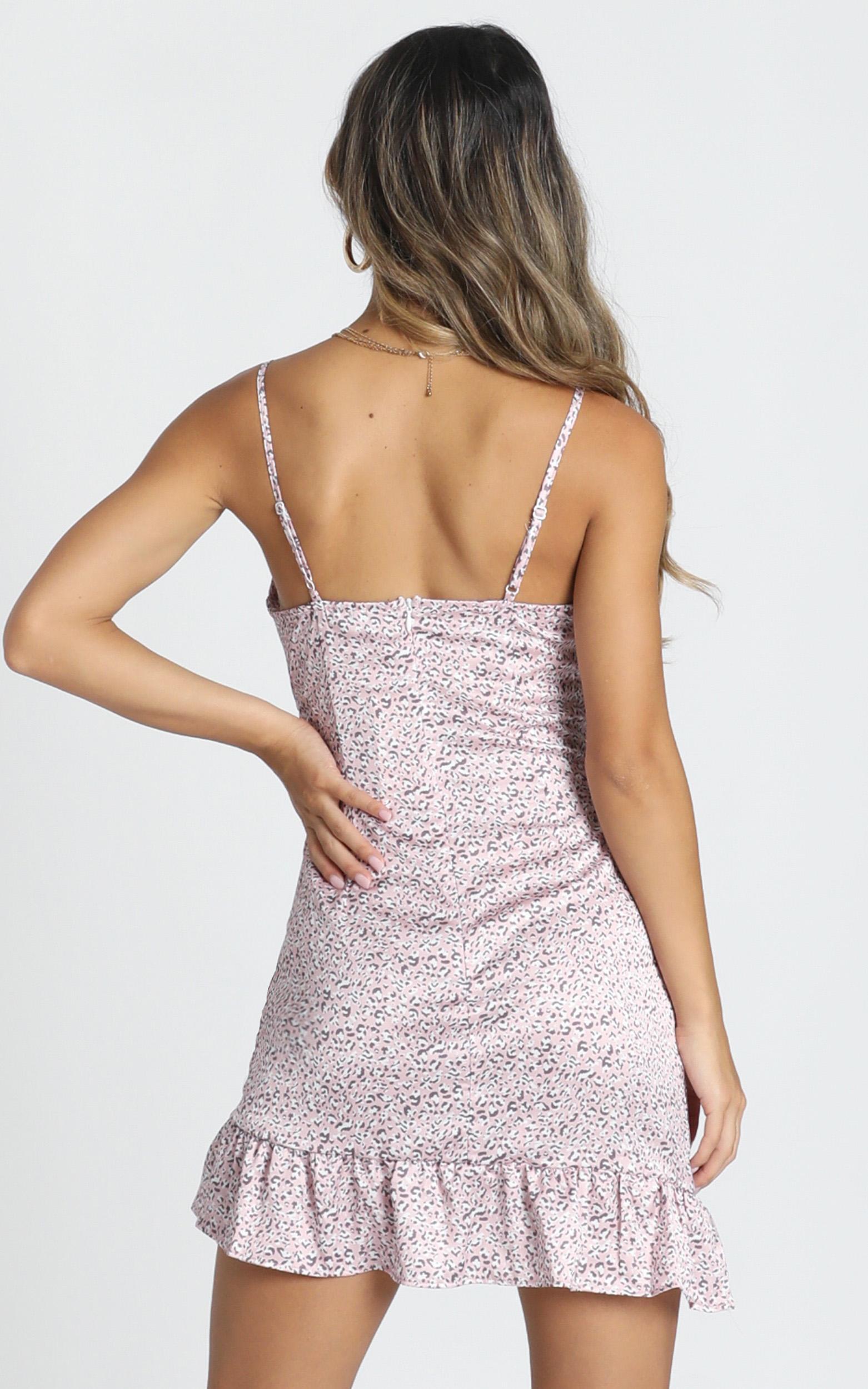 Emelia Frill Satin Mini Dress in pink leopard print - 12 (L), Pink, hi-res image number null