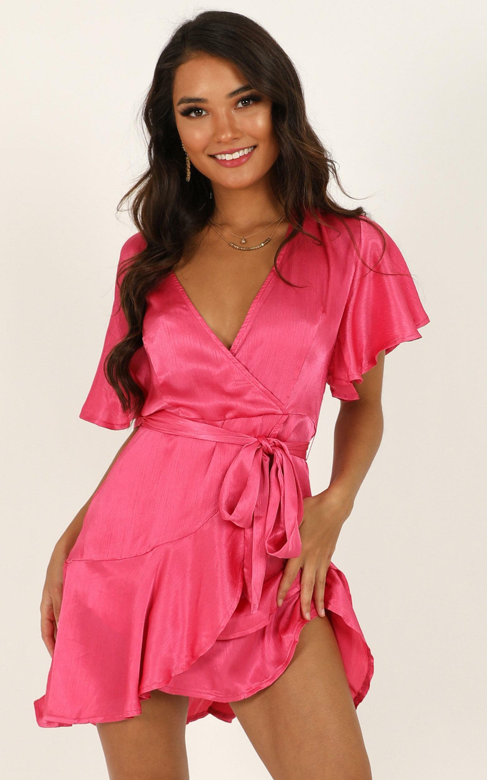 All I Want To Be Dress in hot pink satin - 14 (XL), Pink, hi-res image number null