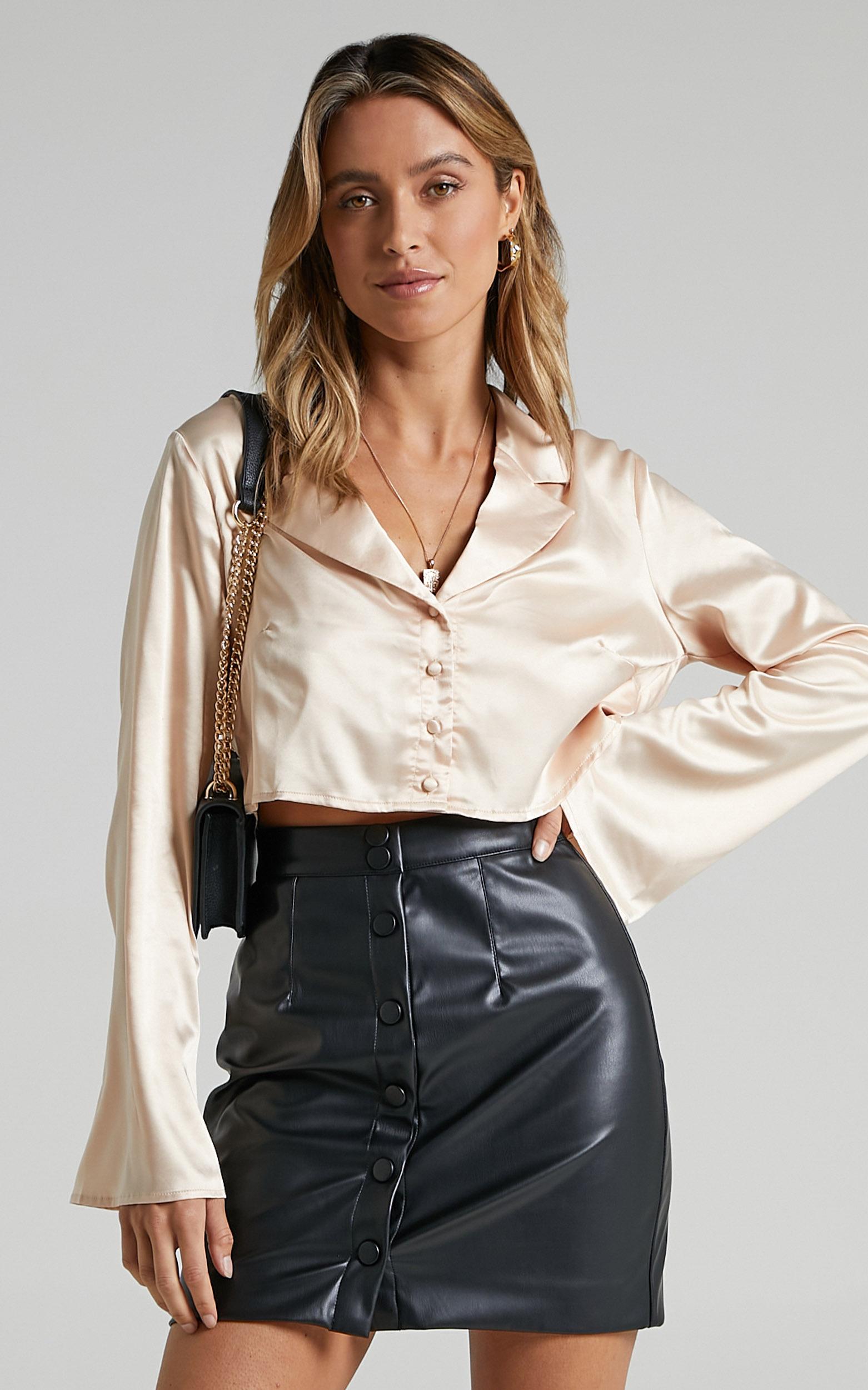 Lucille Leatherette Mini Skirt in Black - 06, BLK1, hi-res image number null