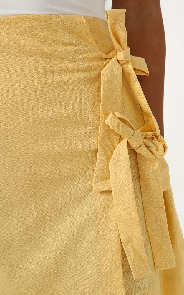 Beyond Luck Skirt in lemon linen look - 20 (XXXXL), Yellow, hi-res image number null