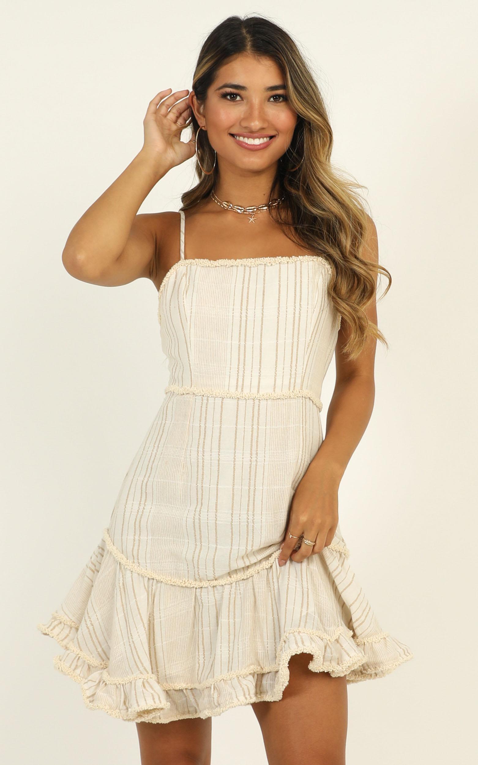 Cooper Dress in  mocha stripe- 12 (L), Mocha, hi-res image number null