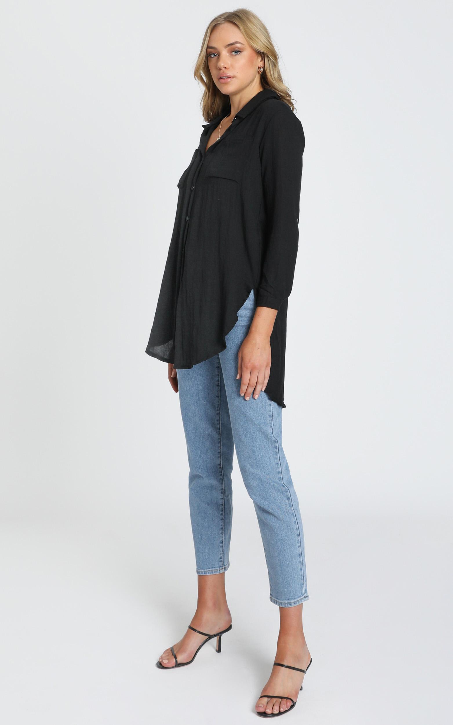 Trish Button Up Shirt In Black - 8 (S), Black, hi-res image number null
