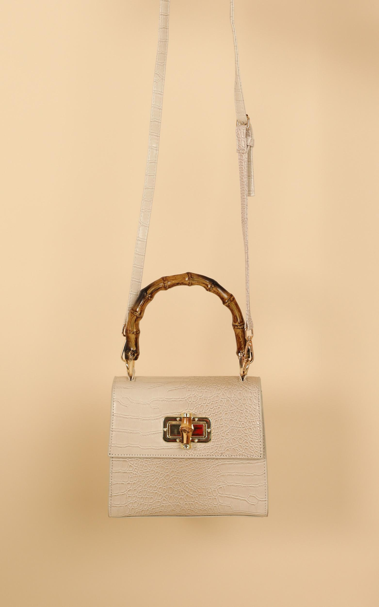 Mind Over Matter Bag In Cream Croc And Bamboo, , hi-res image number null