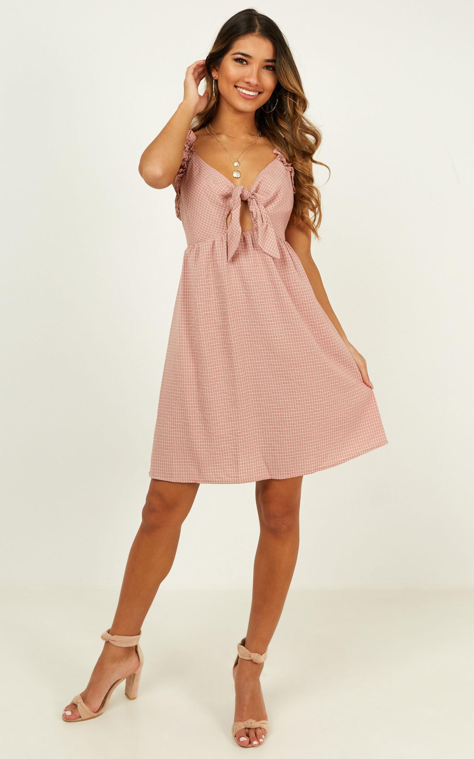 Let Her Go dress in blush check - 12 (L), Blush, hi-res image number null