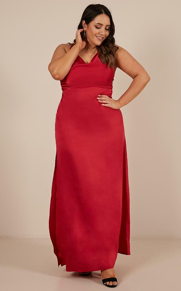 Style And Substance Maxi Dress in red satin - 8 (S), Red, hi-res image number null